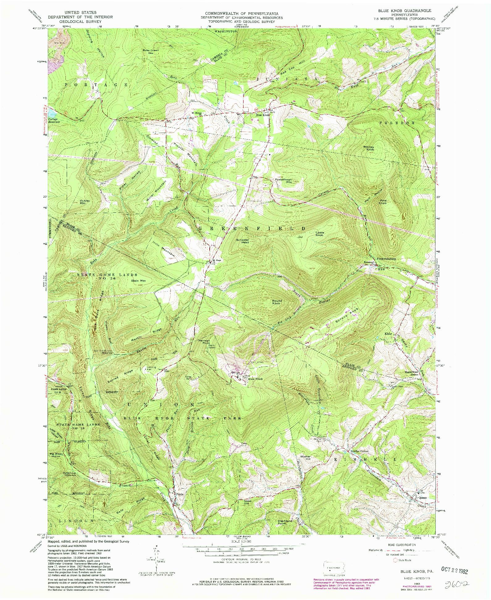 USGS 1:24000-SCALE QUADRANGLE FOR BLUE KNOB, PA 1963