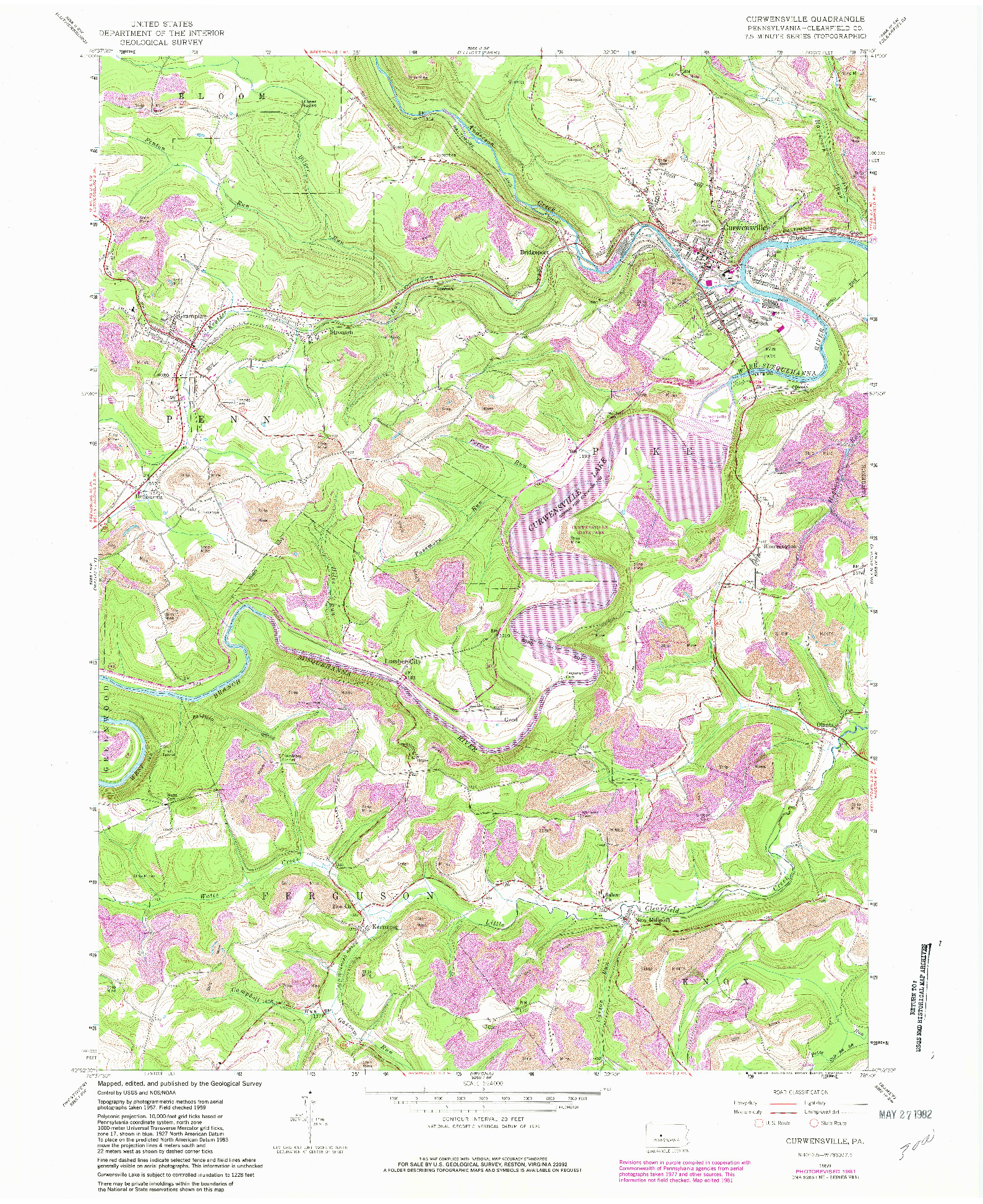 USGS 1:24000-SCALE QUADRANGLE FOR CURWENSVILLE, PA 1959
