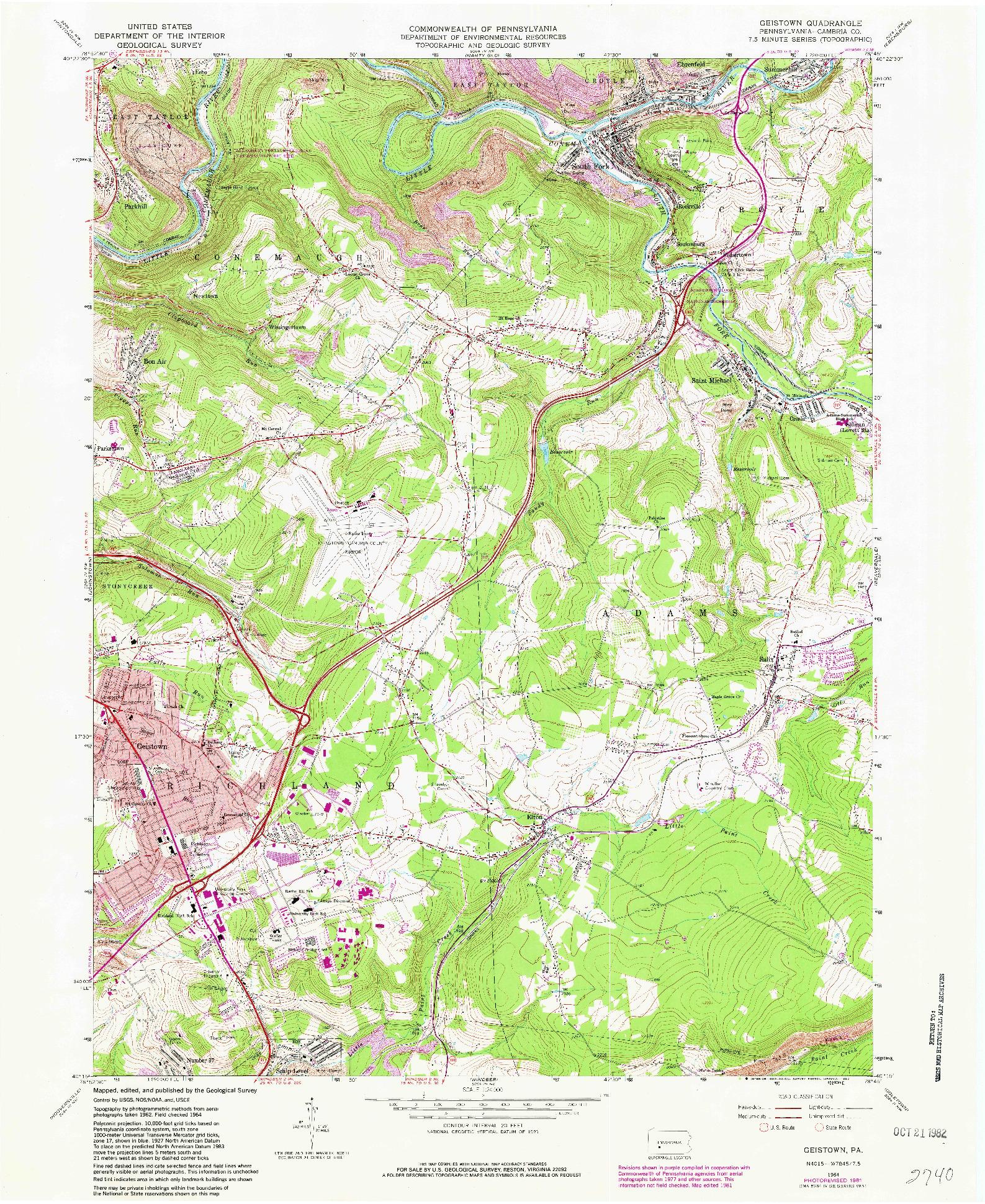 USGS 1:24000-SCALE QUADRANGLE FOR GEISTOWN, PA 1964