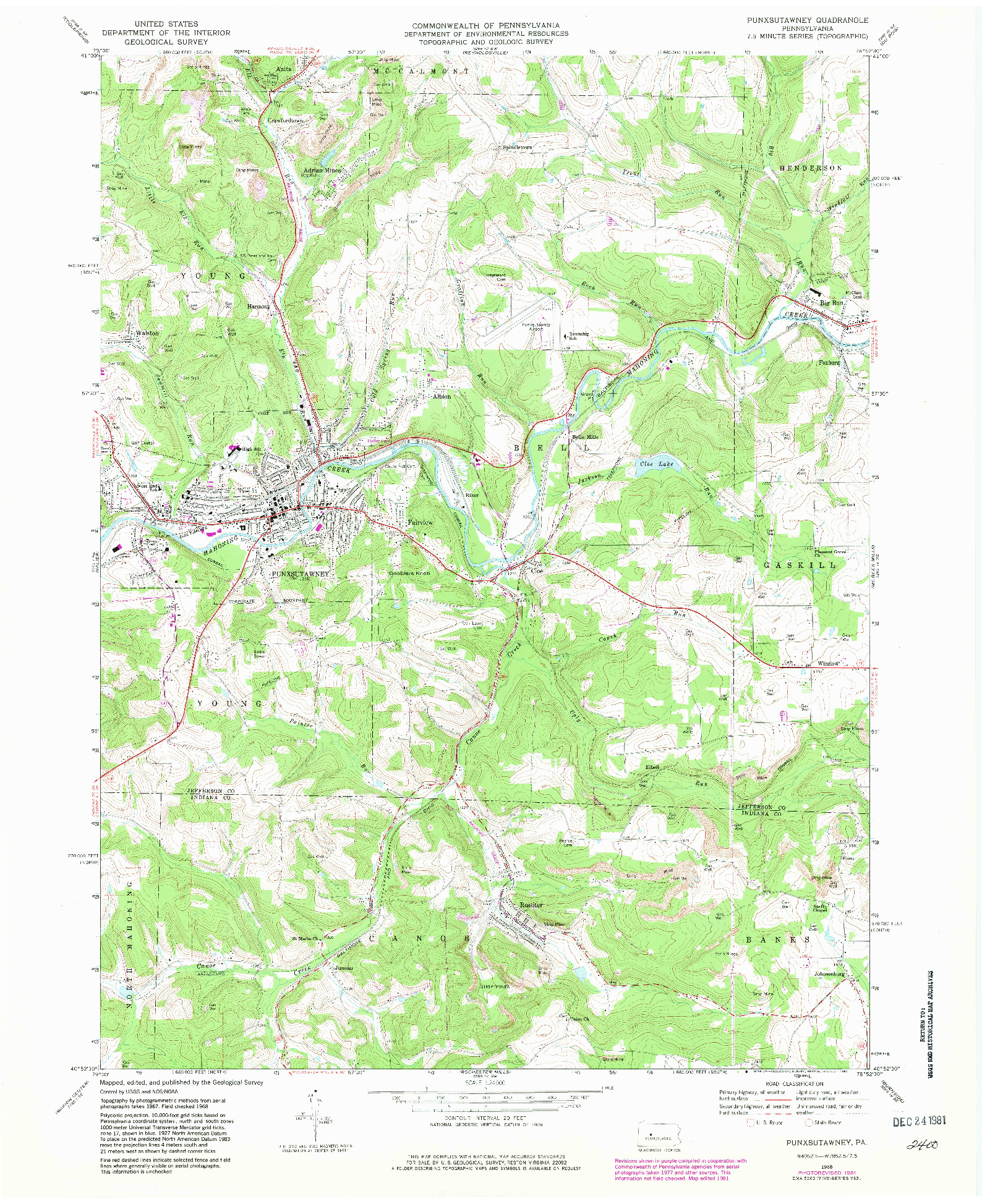 USGS 1:24000-SCALE QUADRANGLE FOR PUNXSUTAWNEY, PA 1968