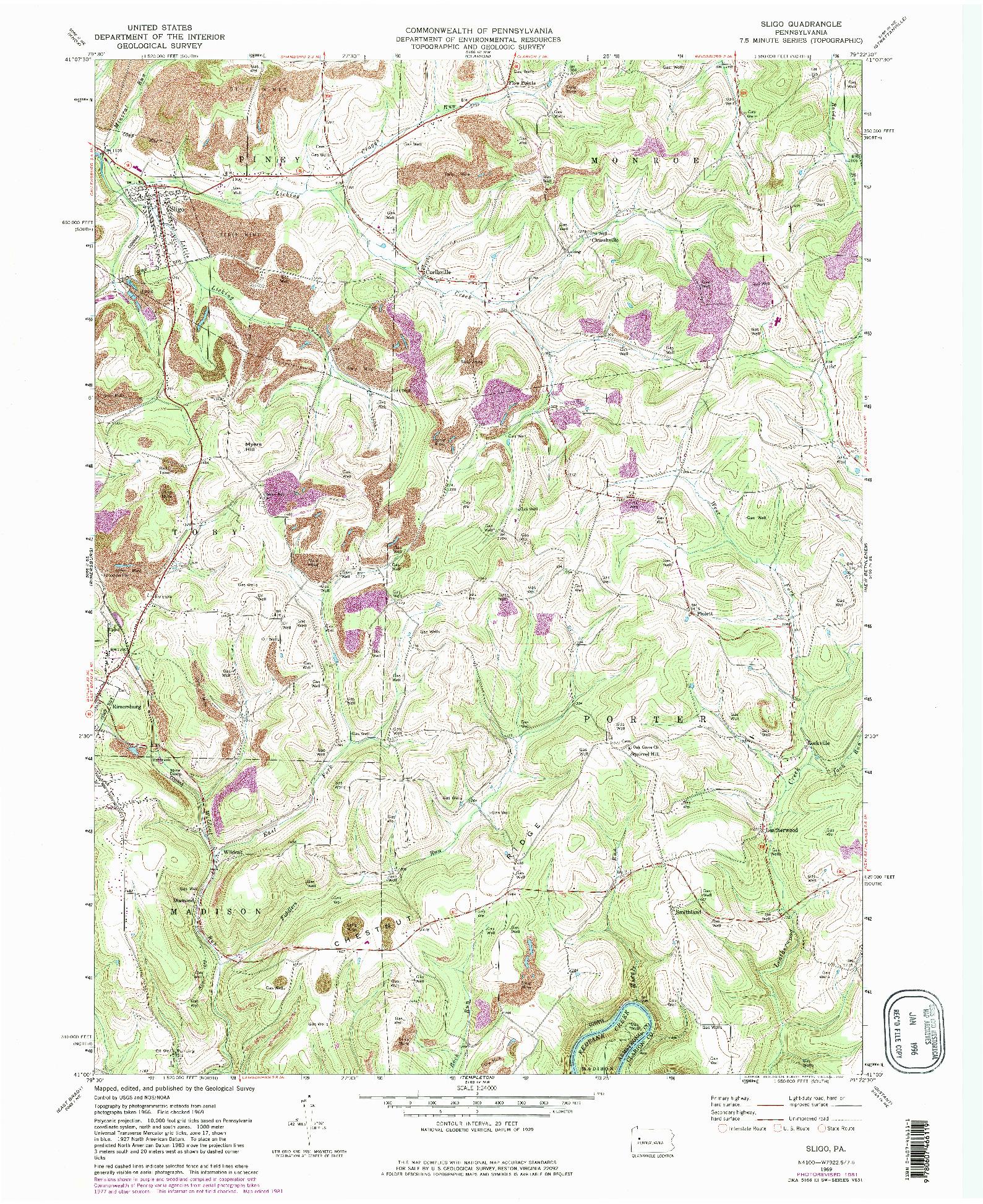 USGS 1:24000-SCALE QUADRANGLE FOR SLIGO, PA 1969
