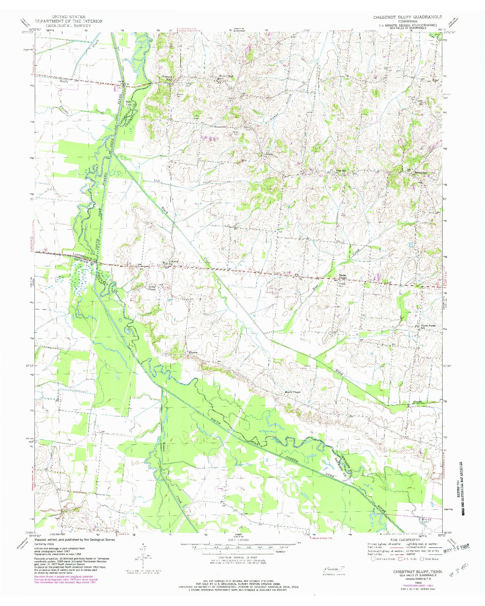 USGS 1:24000-SCALE QUADRANGLE FOR CHESTNUT BLUFF, TN 1952