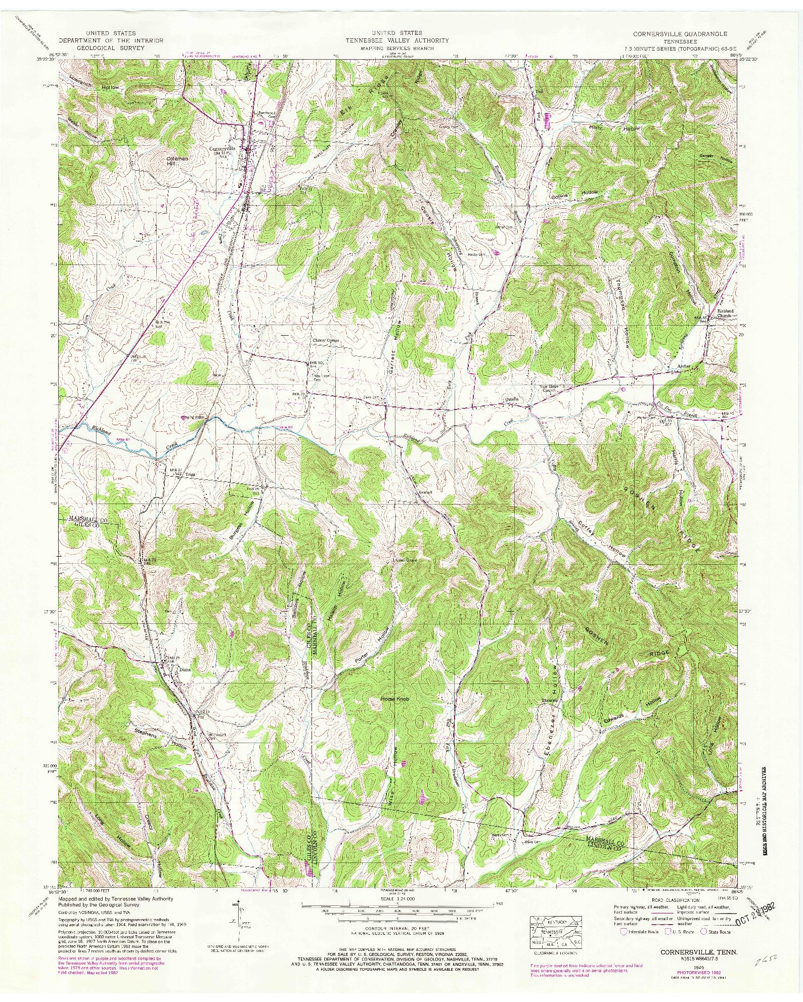USGS 1:24000-SCALE QUADRANGLE FOR CORNERSVILLE, TN 1949