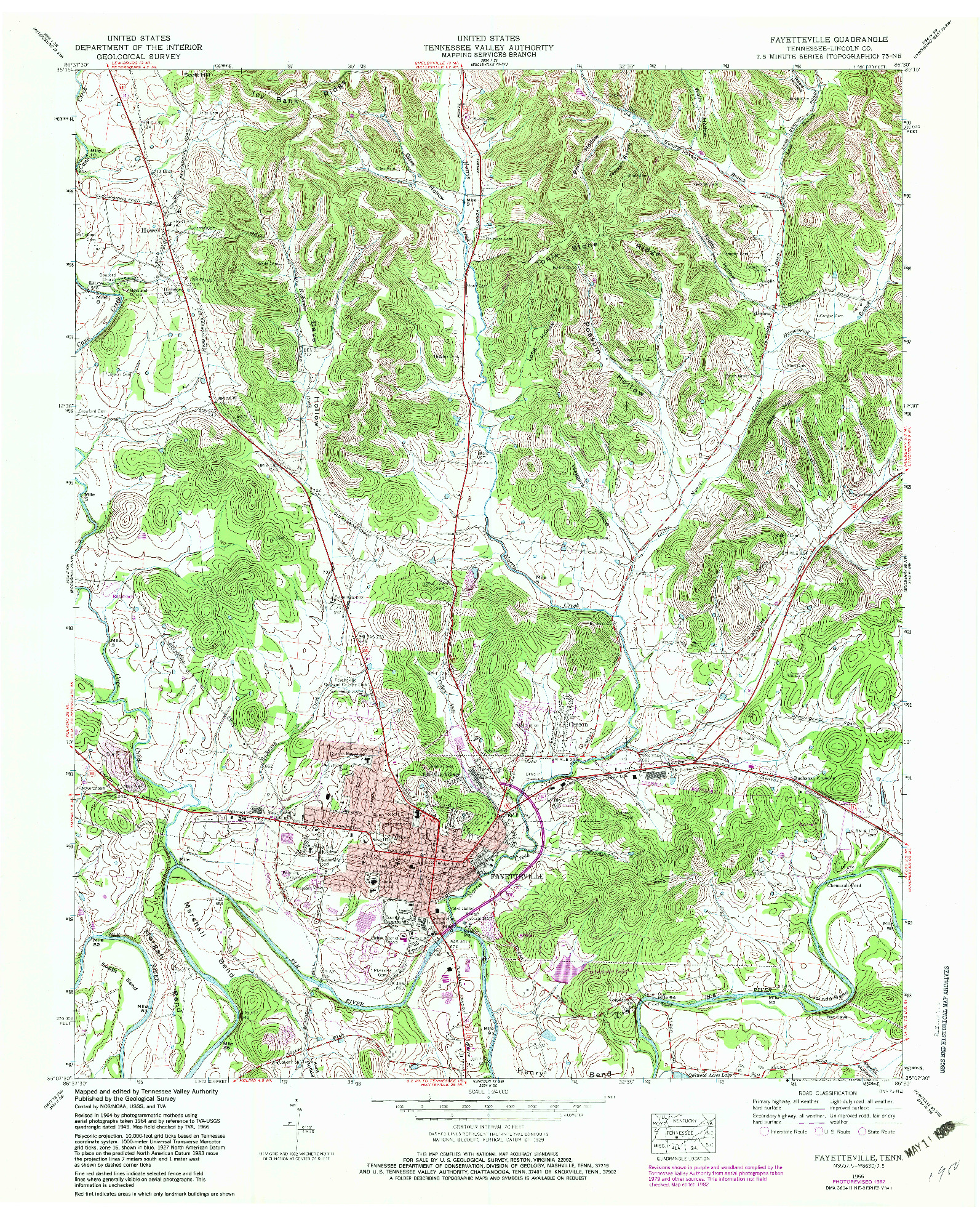 USGS 1:24000-SCALE QUADRANGLE FOR FAYETTEVILLE, TN 1966