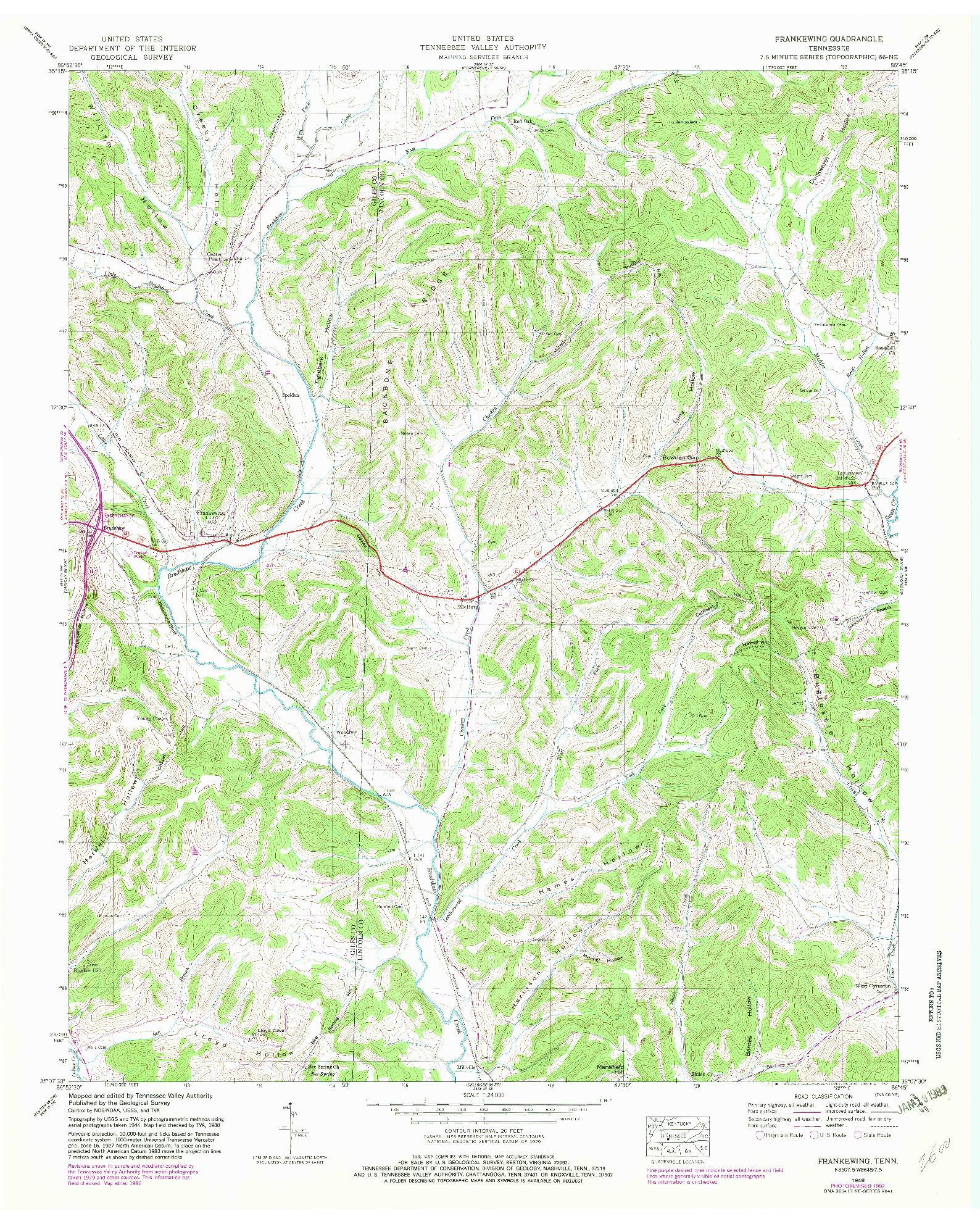 USGS 1:24000-SCALE QUADRANGLE FOR FRANKEWING, TN 1948