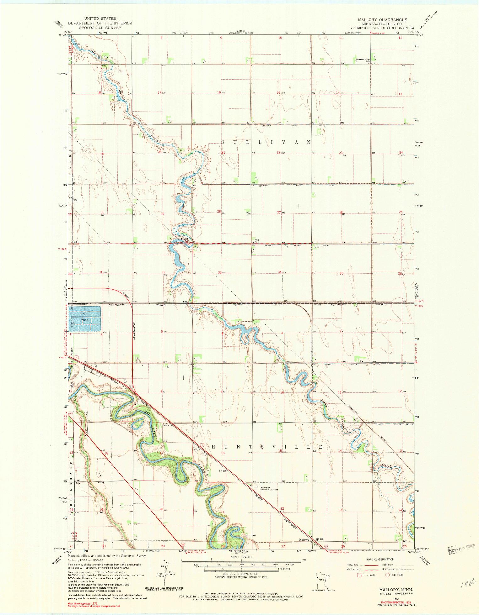 USGS 1:24000-SCALE QUADRANGLE FOR MALLORY, MN 1963
