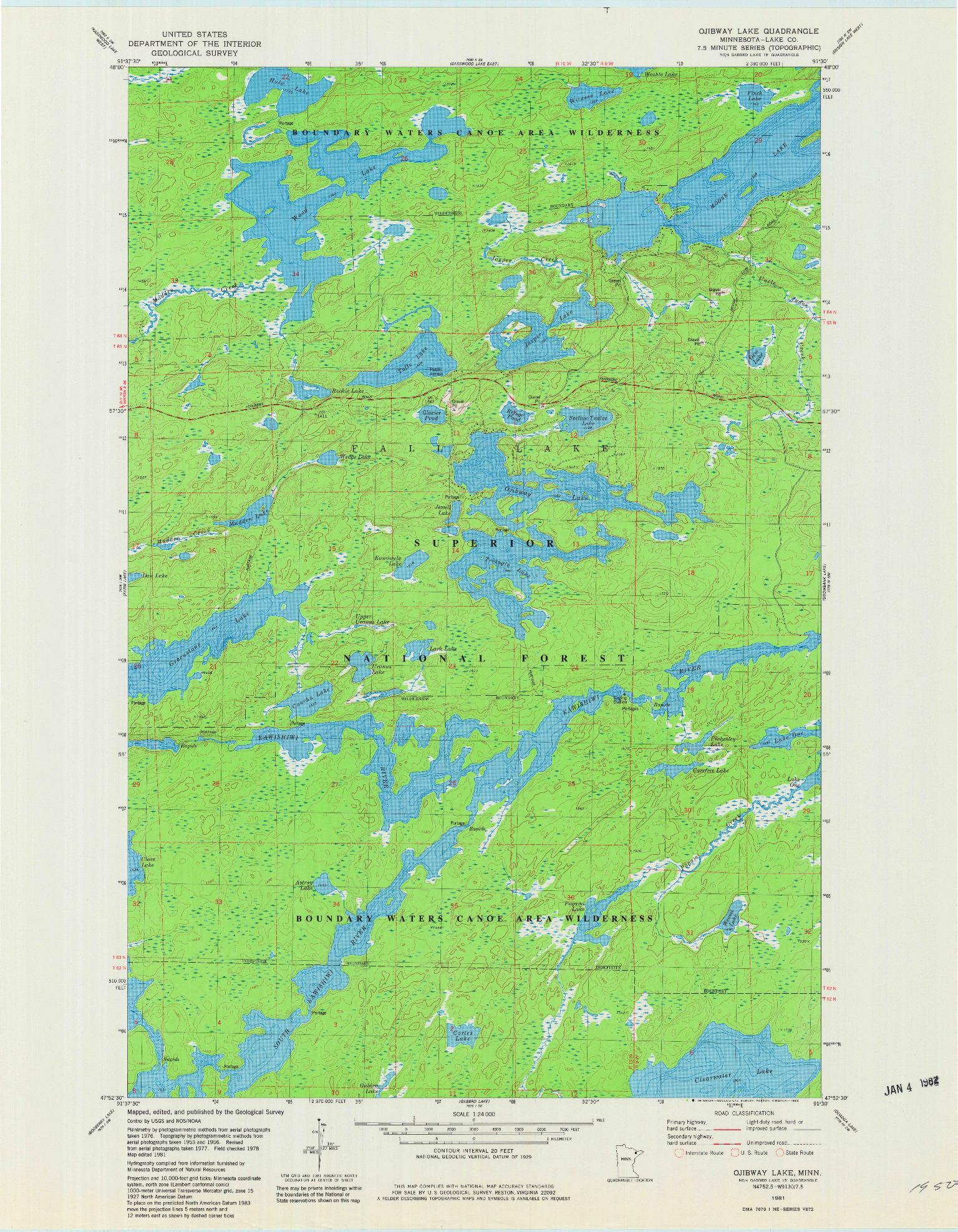 USGS 1:24000-SCALE QUADRANGLE FOR OJIBWAY LAKE, MN 1981