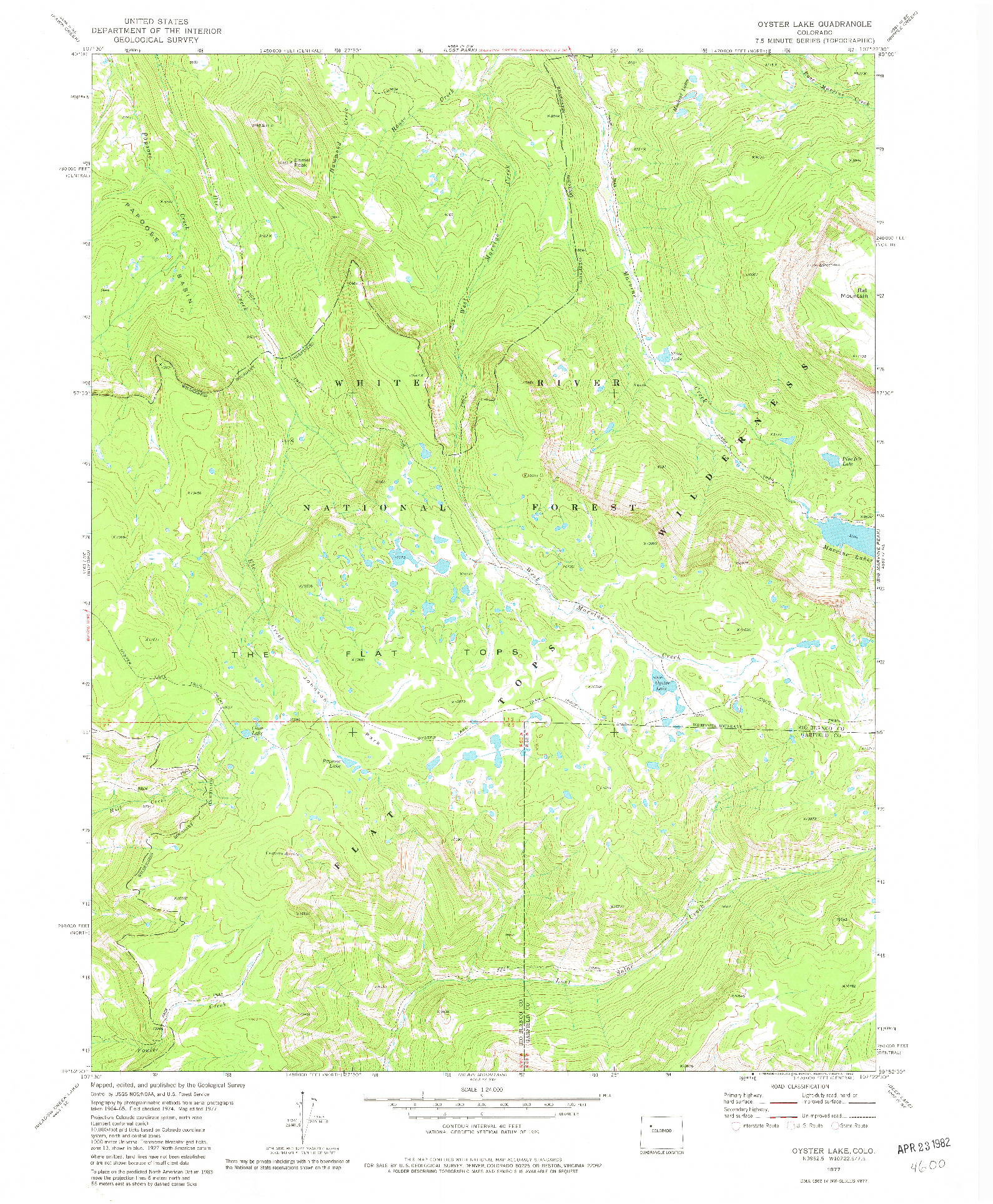 USGS 1:24000-SCALE QUADRANGLE FOR OYSTER LAKE, CO 1977