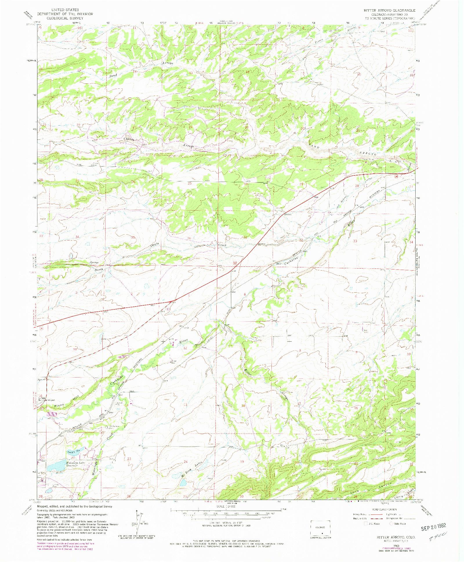 USGS 1:24000-SCALE QUADRANGLE FOR RITTER ARROYO, CO 1963
