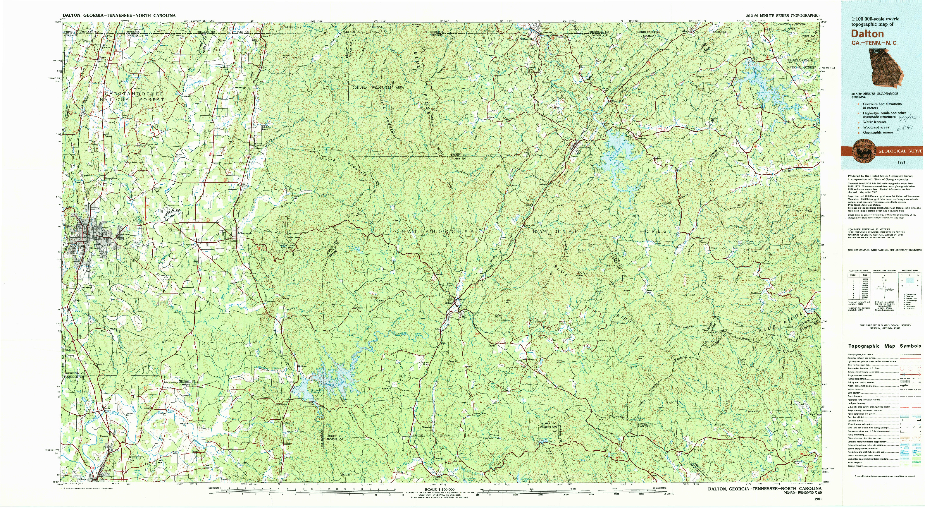USGS 1:100000-SCALE QUADRANGLE FOR DALTON, GA 1981