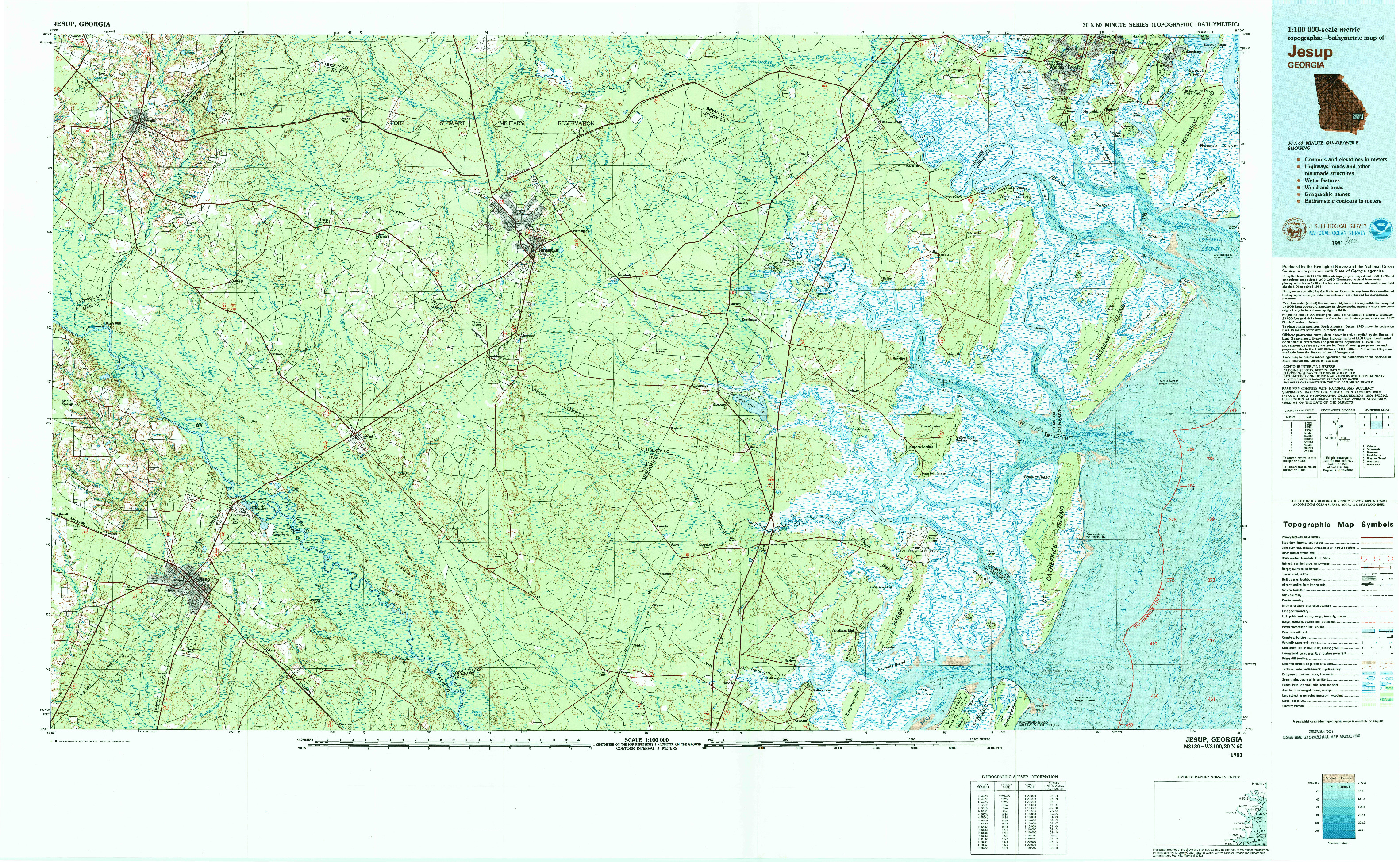USGS 1:100000-SCALE QUADRANGLE FOR JESUP, GA 1981