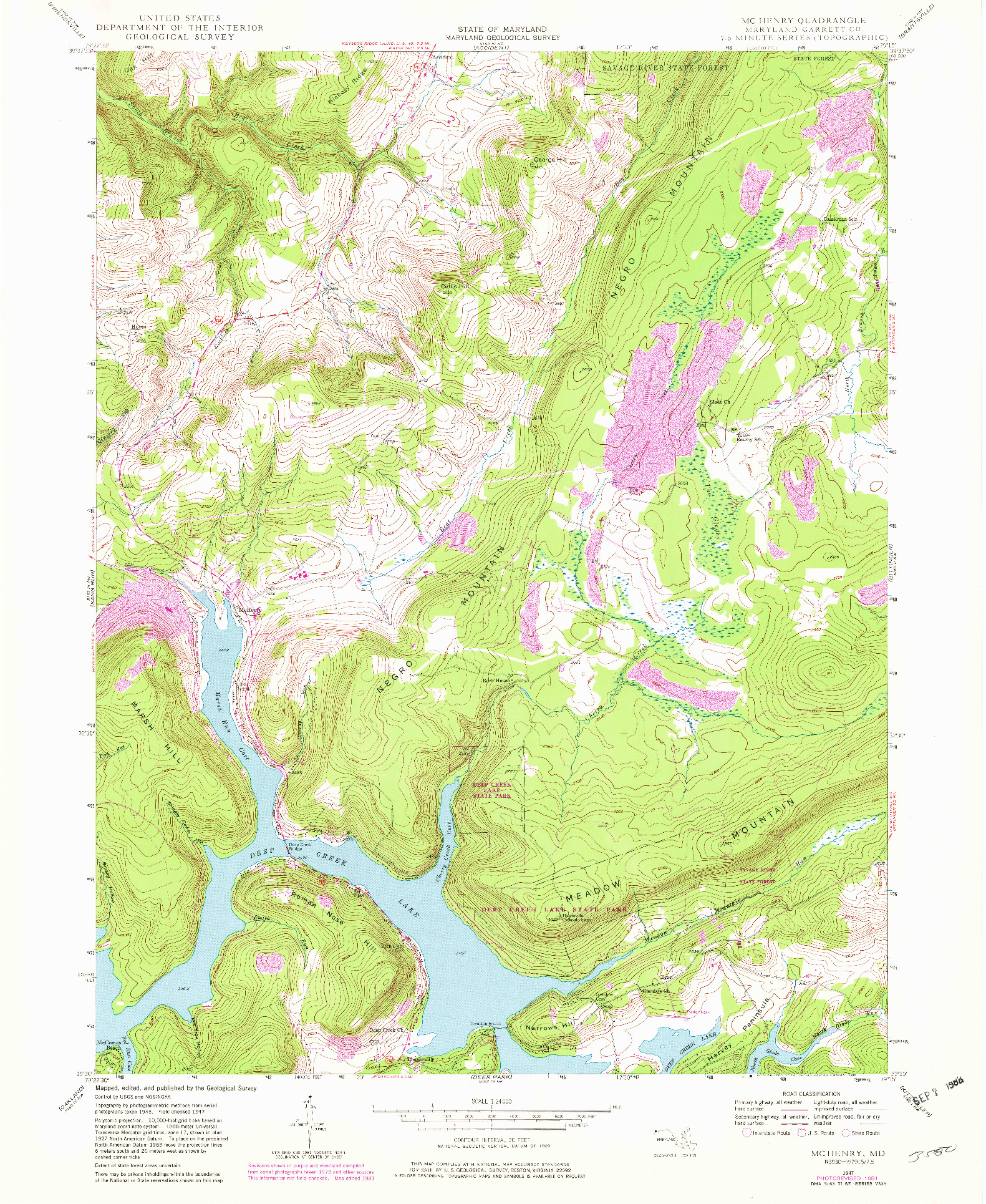 USGS 1:24000-SCALE QUADRANGLE FOR MCHENRY, MD 1947