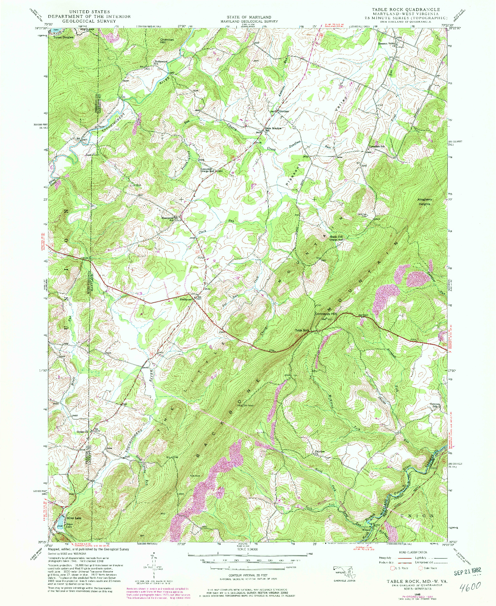 USGS 1:24000-SCALE QUADRANGLE FOR TABLE ROCK, MD 1948