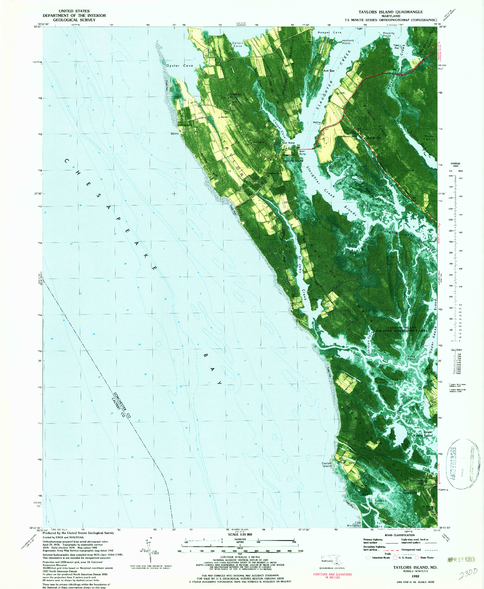 USGS 1:24000-SCALE QUADRANGLE FOR TAYLORS ISLAND, MD 1982