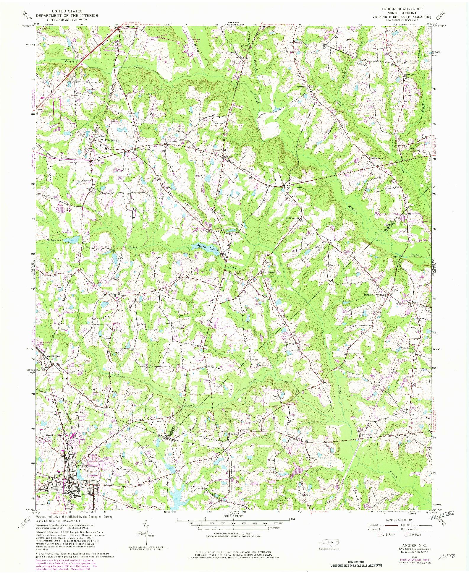 USGS 1:24000-SCALE QUADRANGLE FOR ANGIER, NC 1964