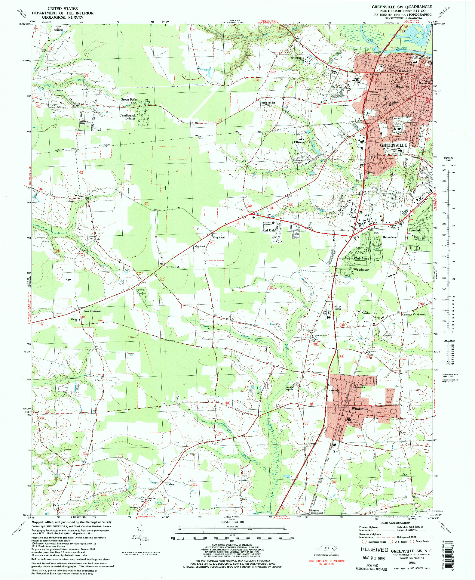 USGS 1:24000-SCALE QUADRANGLE FOR GREENVILLE SW, NC 1981