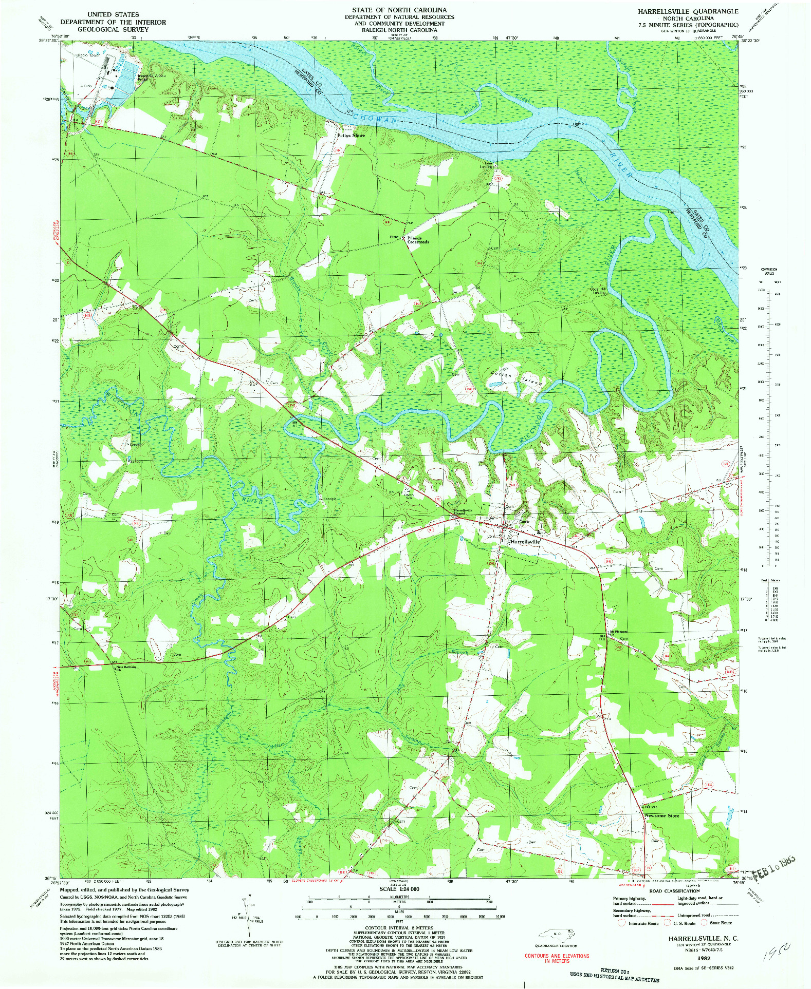 USGS 1:24000-SCALE QUADRANGLE FOR HARRELLSVILLE, NC 1982