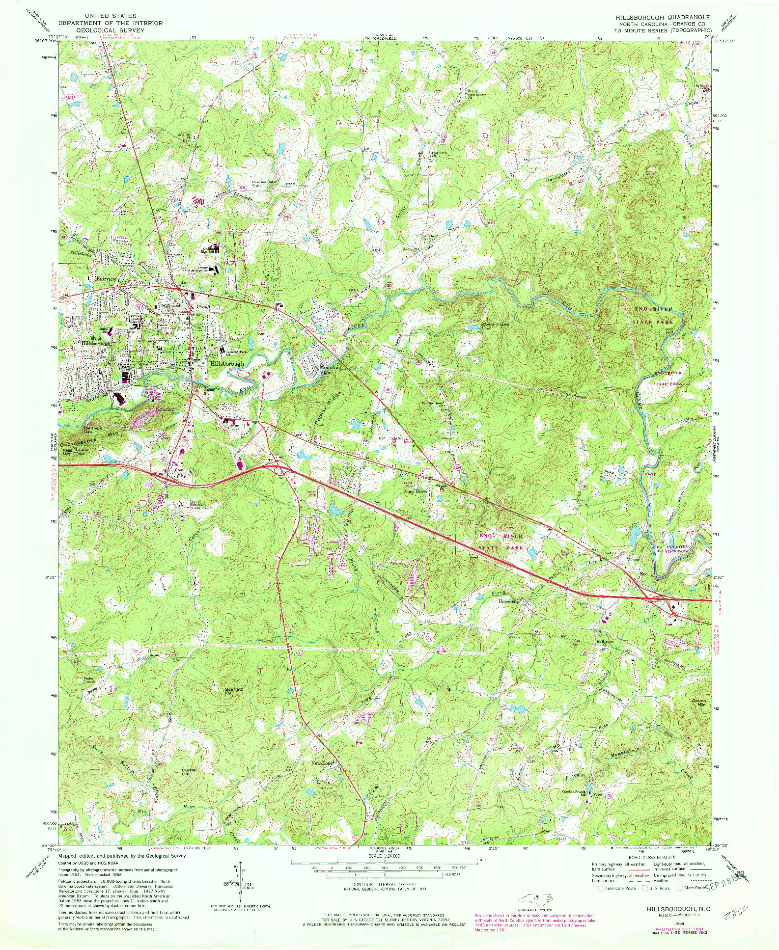 USGS 1:24000-SCALE QUADRANGLE FOR HILLSBOROUGH, NC 1968