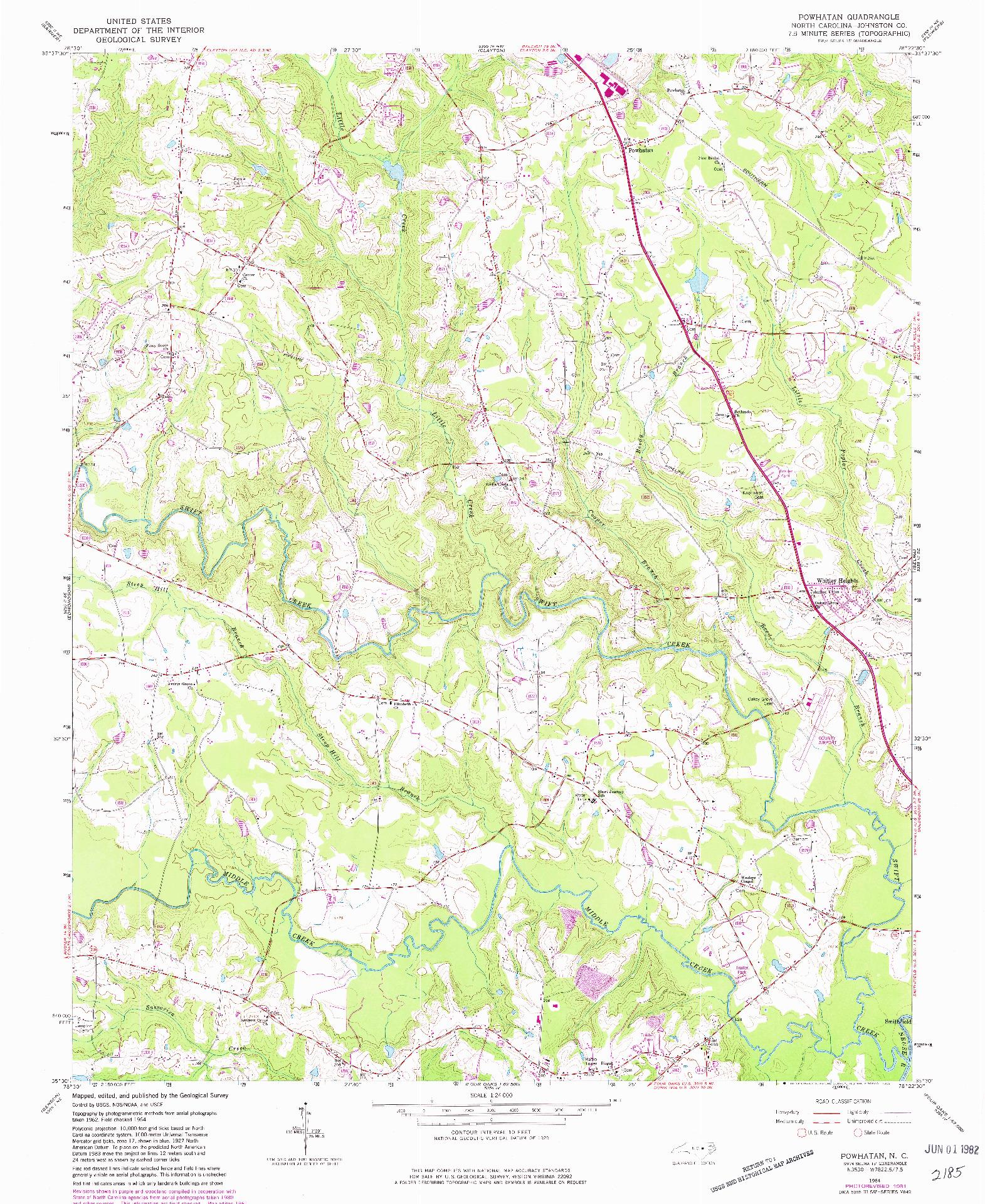 USGS 1:24000-SCALE QUADRANGLE FOR POWHATAN, NC 1964