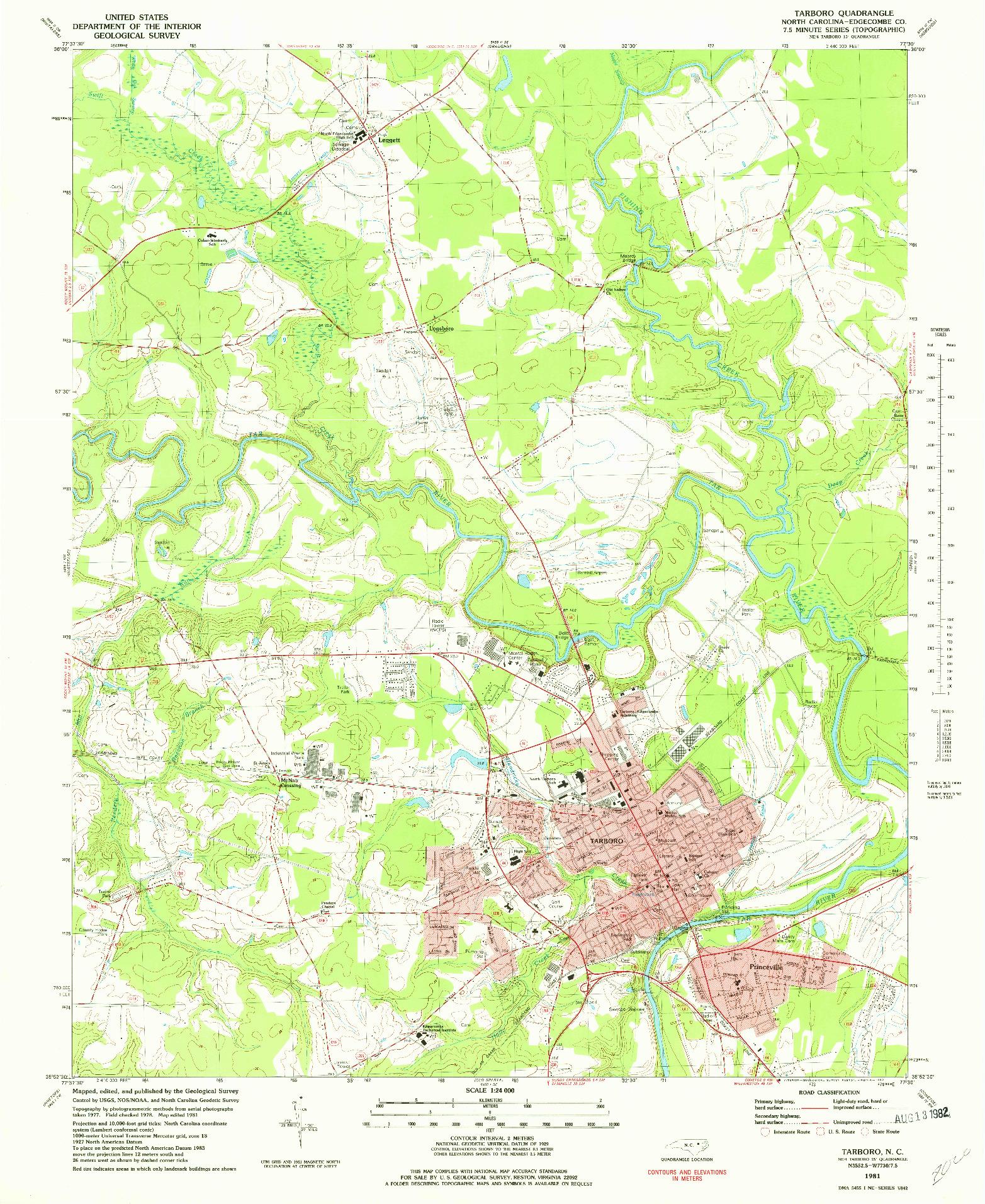 USGS 1:24000-SCALE QUADRANGLE FOR TARBORO, NC 1981