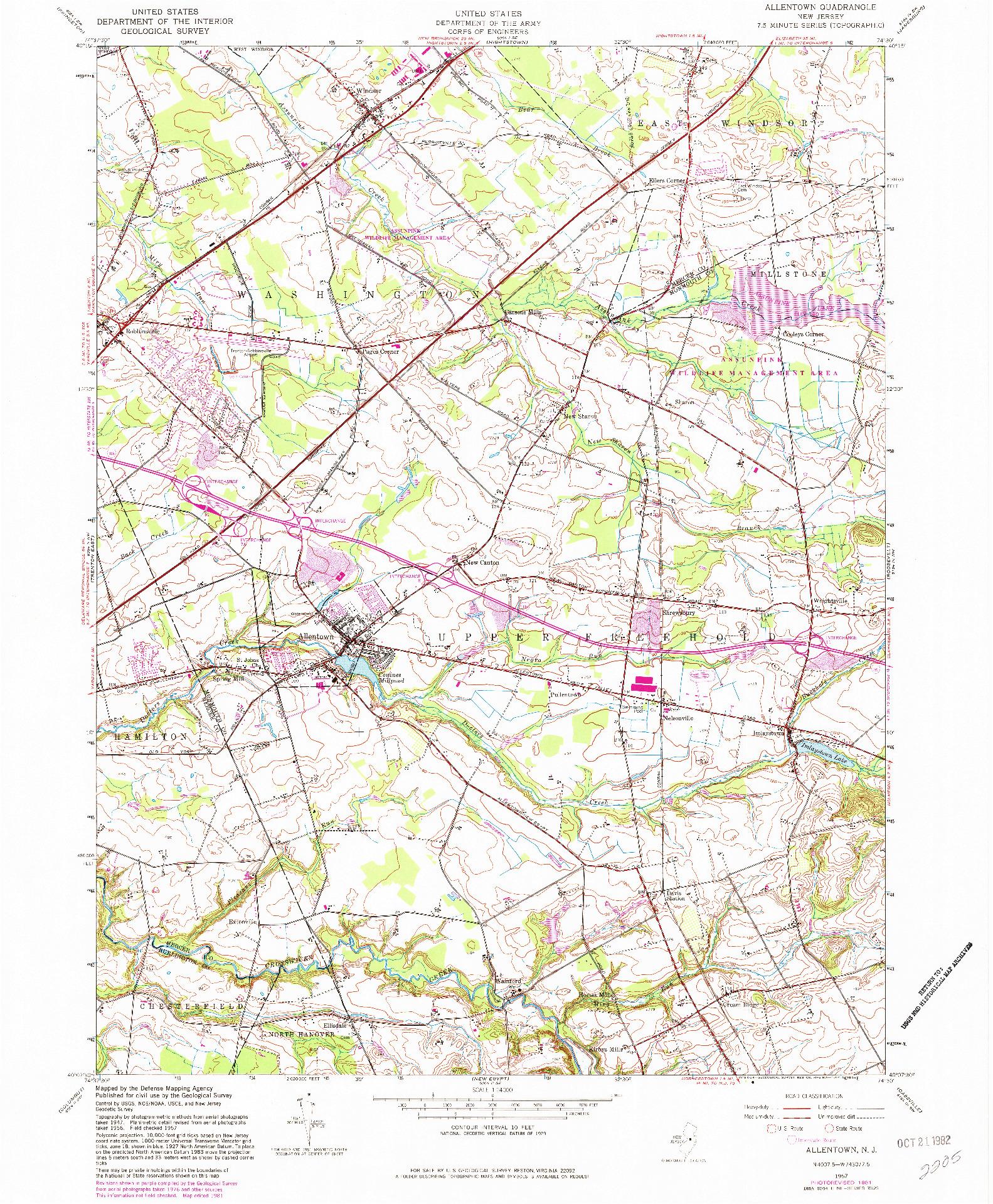 USGS 1:24000-SCALE QUADRANGLE FOR ALLENTOWN, NJ 1957