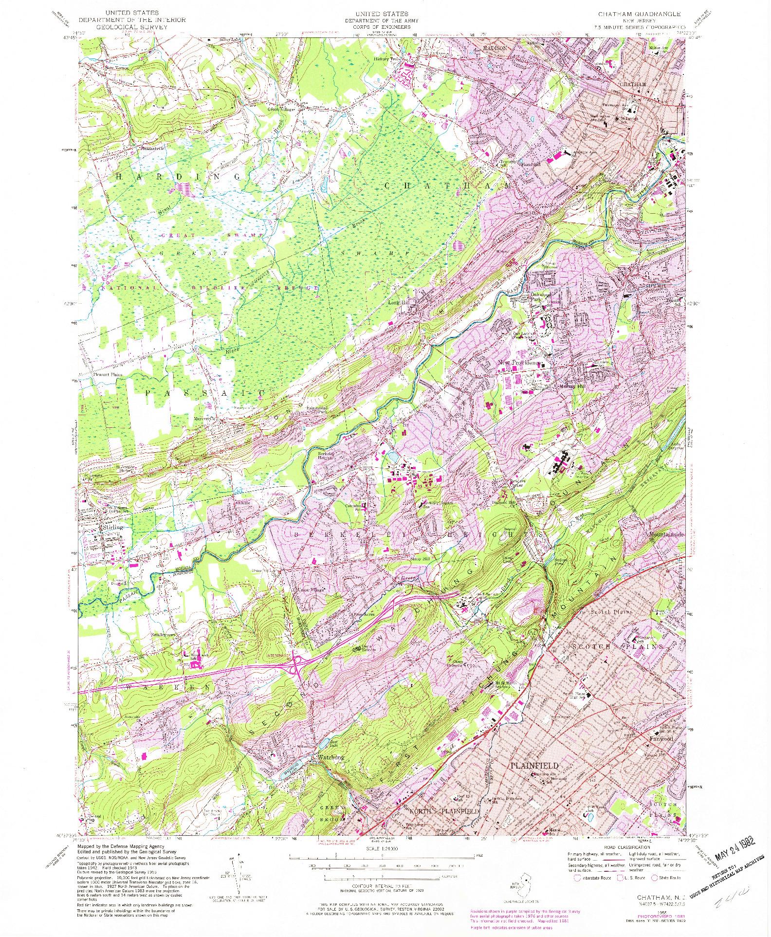 USGS 1:24000-SCALE QUADRANGLE FOR CHATHAM, NJ 1955
