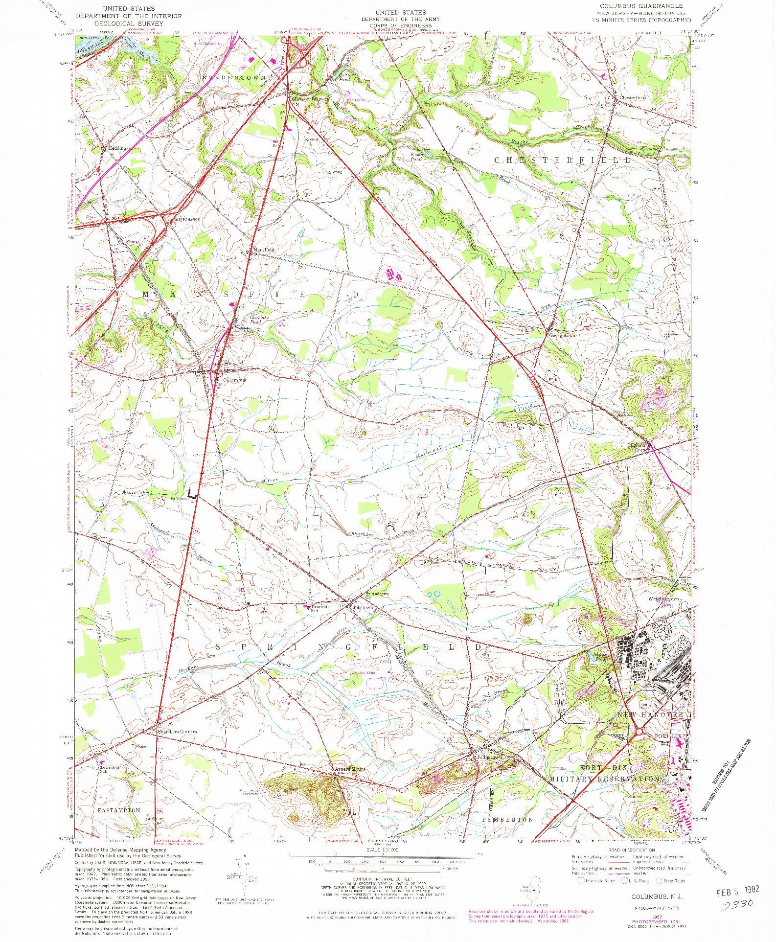 USGS 1:24000-SCALE QUADRANGLE FOR COLUMBUS, NJ 1957