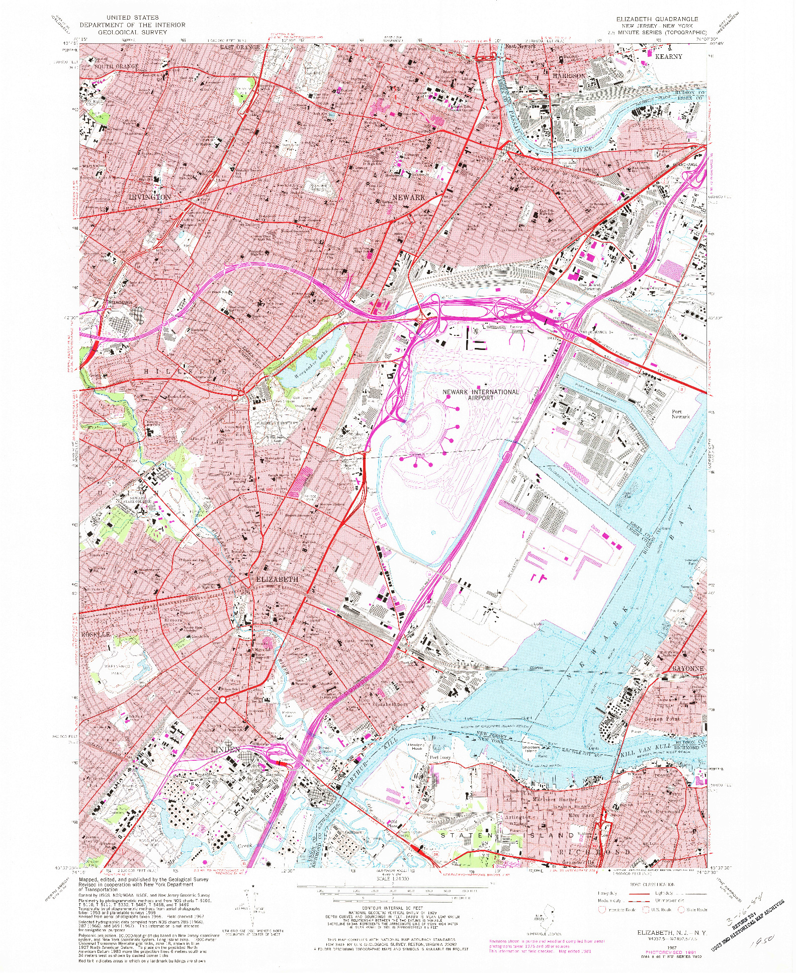 USGS 1:24000-SCALE QUADRANGLE FOR ELIZABETH, NJ 1967