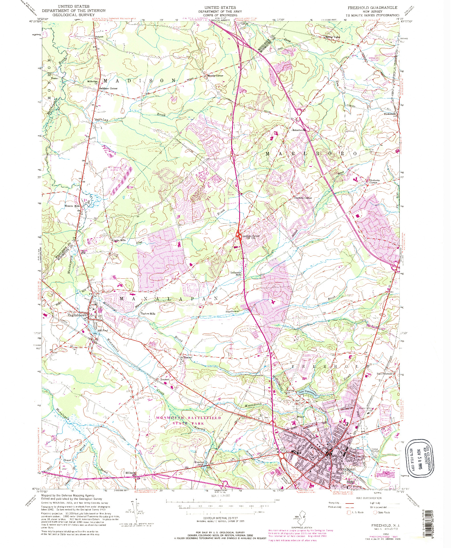 USGS 1:24000-SCALE QUADRANGLE FOR FREEHOLD, NJ 1953