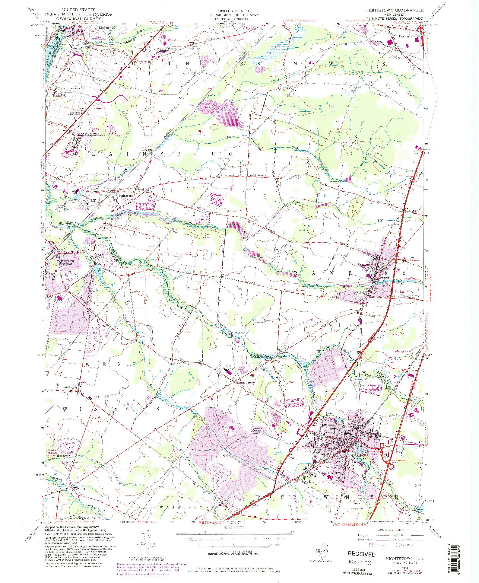 USGS 1:24000-SCALE QUADRANGLE FOR HIGHTSTOWN, NJ 1954