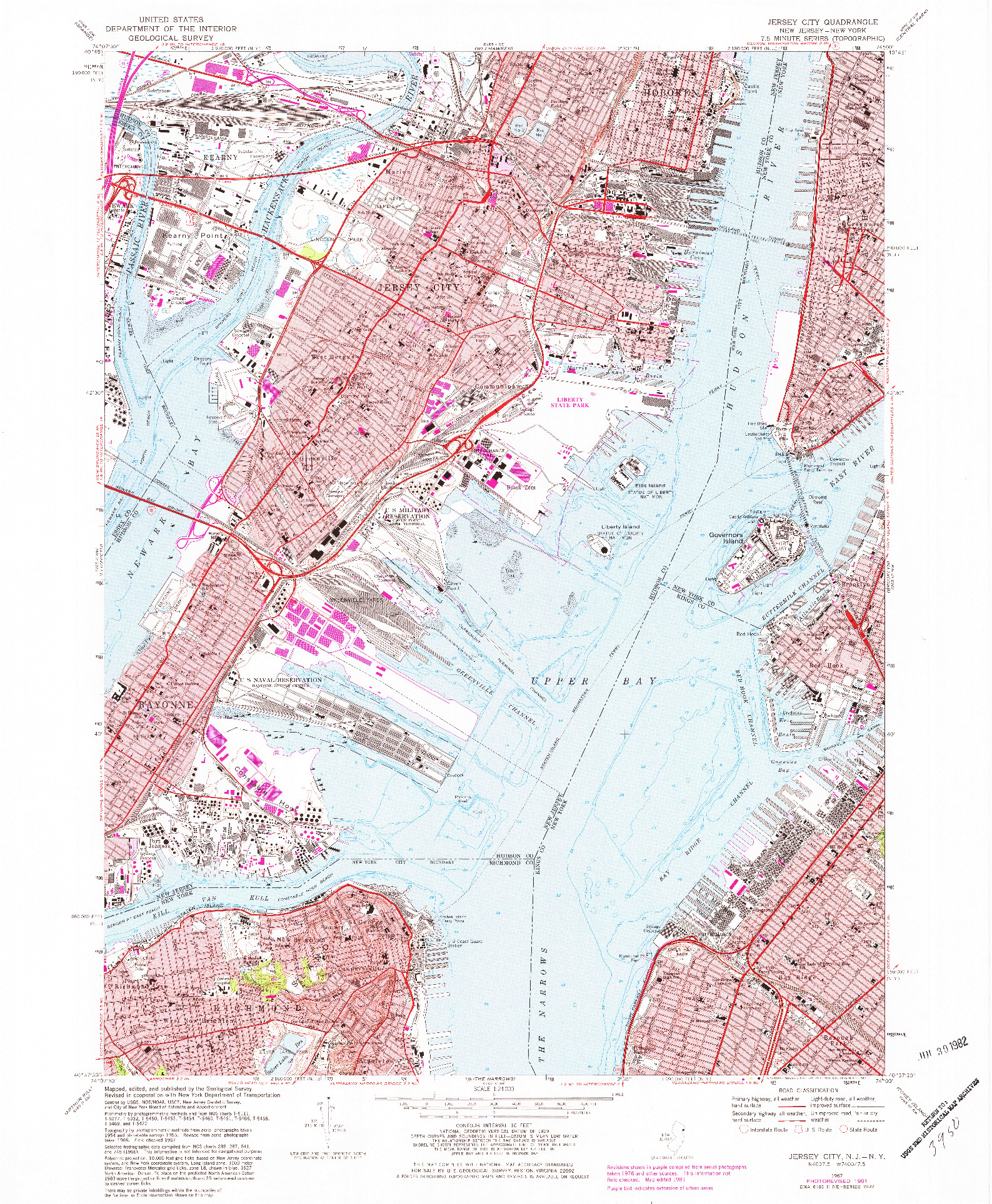 USGS 1:24000-SCALE QUADRANGLE FOR JERSEY CITY, NJ 1967