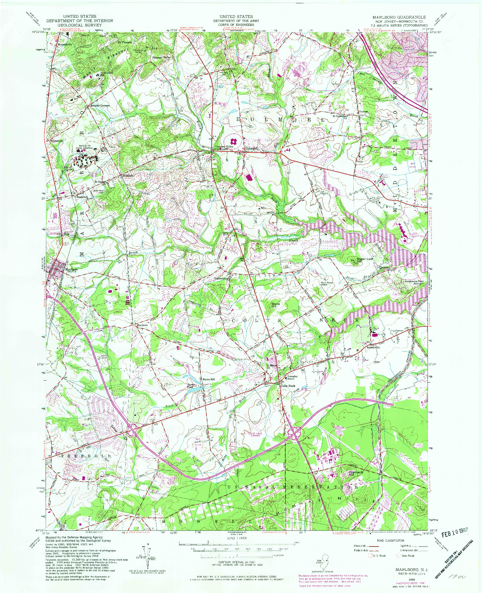 USGS 1:24000-SCALE QUADRANGLE FOR MARLBORO, NJ 1954