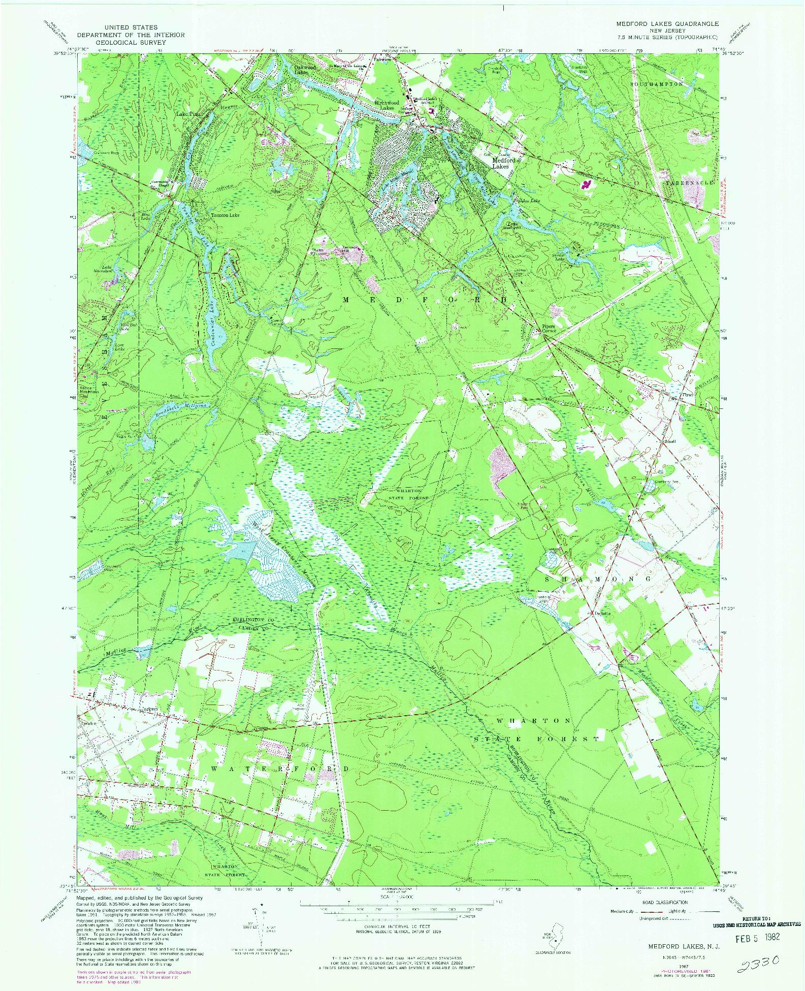 USGS 1:24000-SCALE QUADRANGLE FOR MEDFORD LAKES, NJ 1967