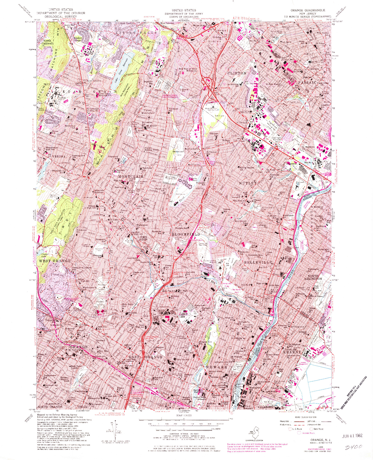 USGS 1:24000-SCALE QUADRANGLE FOR ORANGE, NJ 1955