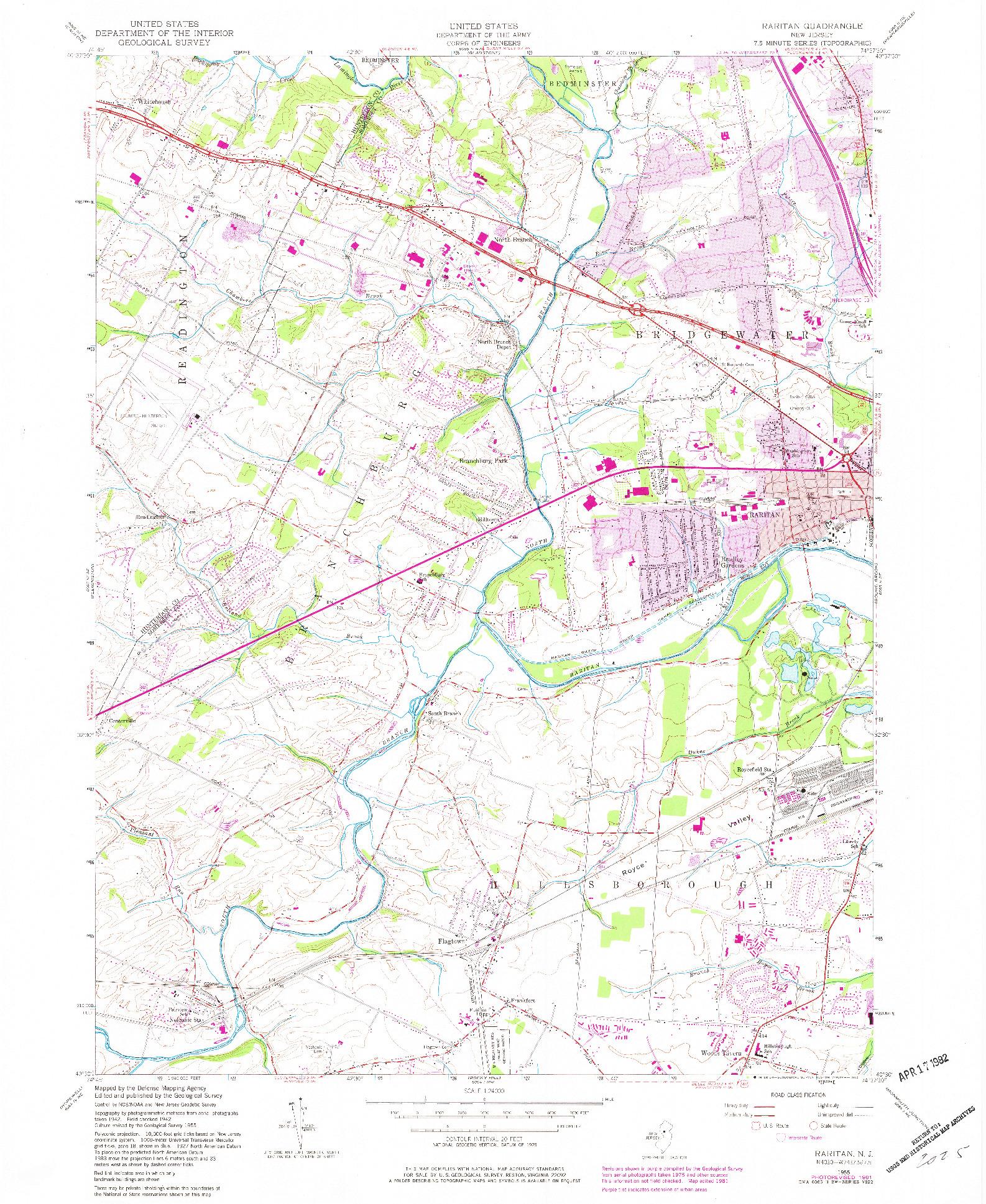 USGS 1:24000-SCALE QUADRANGLE FOR RARITAN, NJ 1955