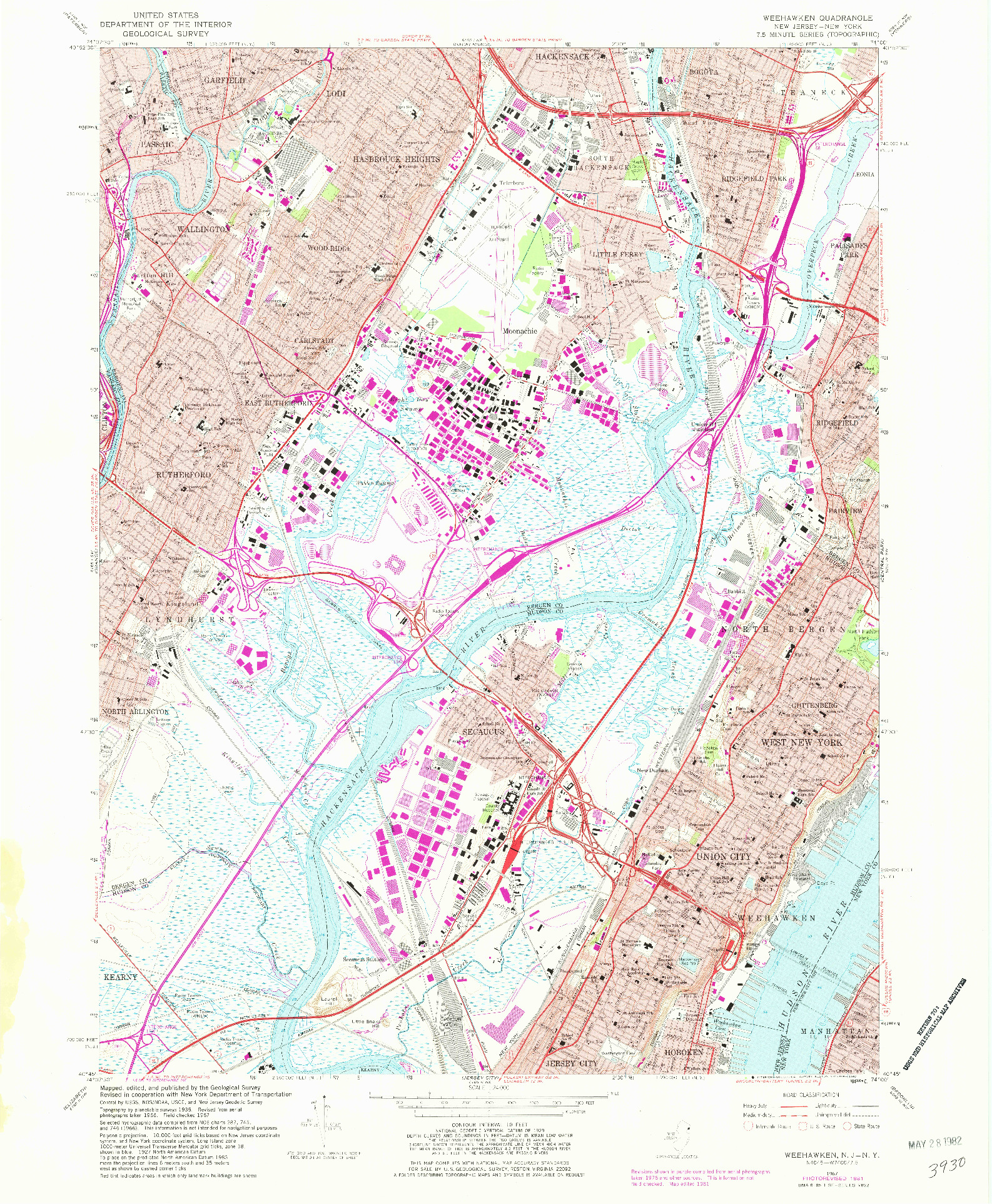 USGS 1:24000-SCALE QUADRANGLE FOR WEEHAWKEN, NJ 1967