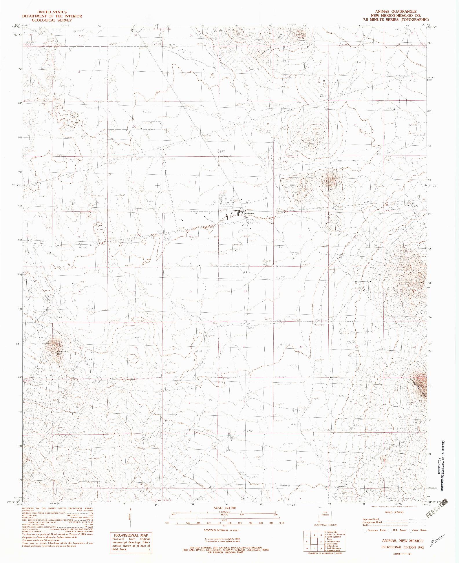 USGS 1:24000-SCALE QUADRANGLE FOR ANIMAS, NM 1982