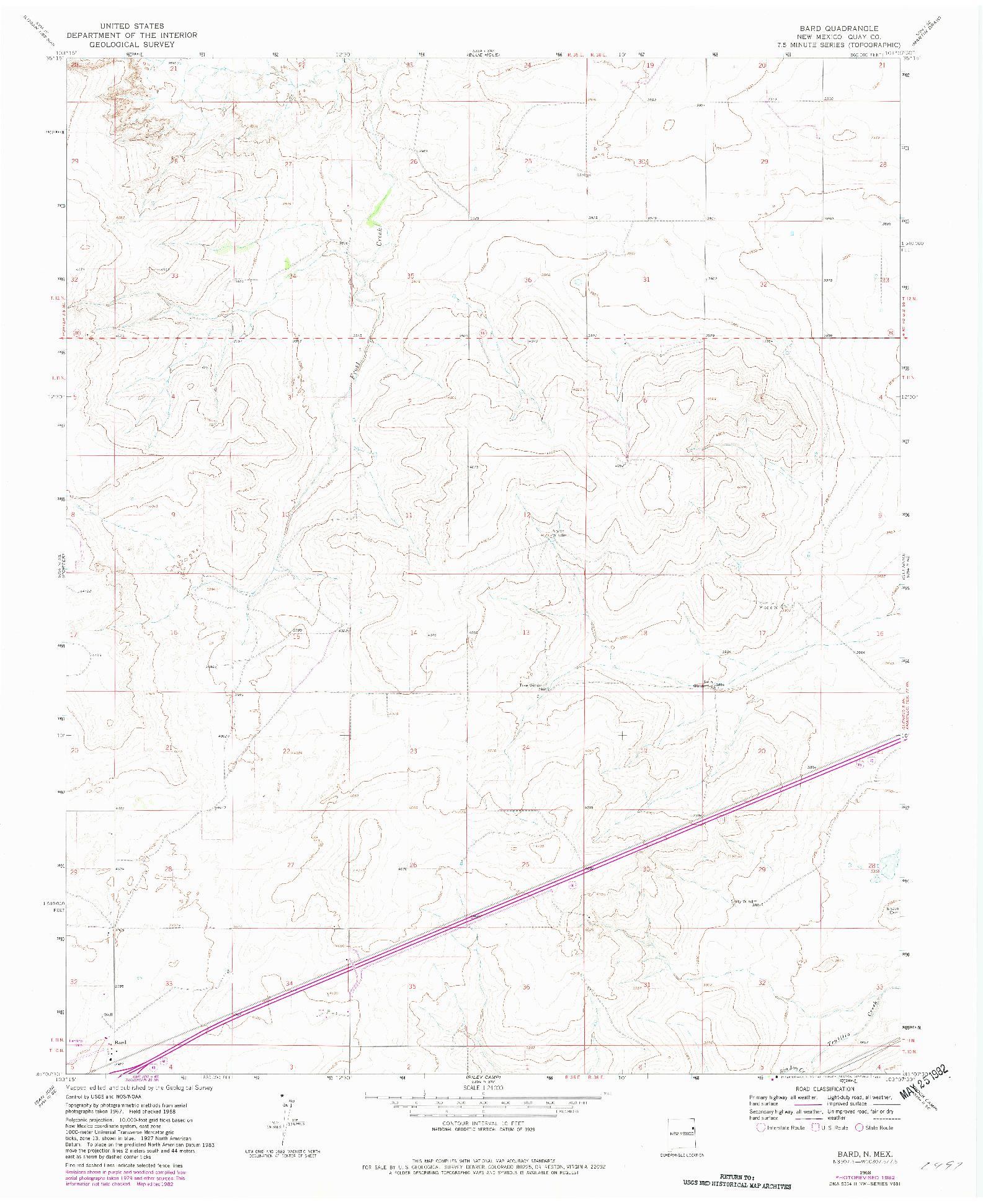 USGS 1:24000-SCALE QUADRANGLE FOR BARD, NM 1968