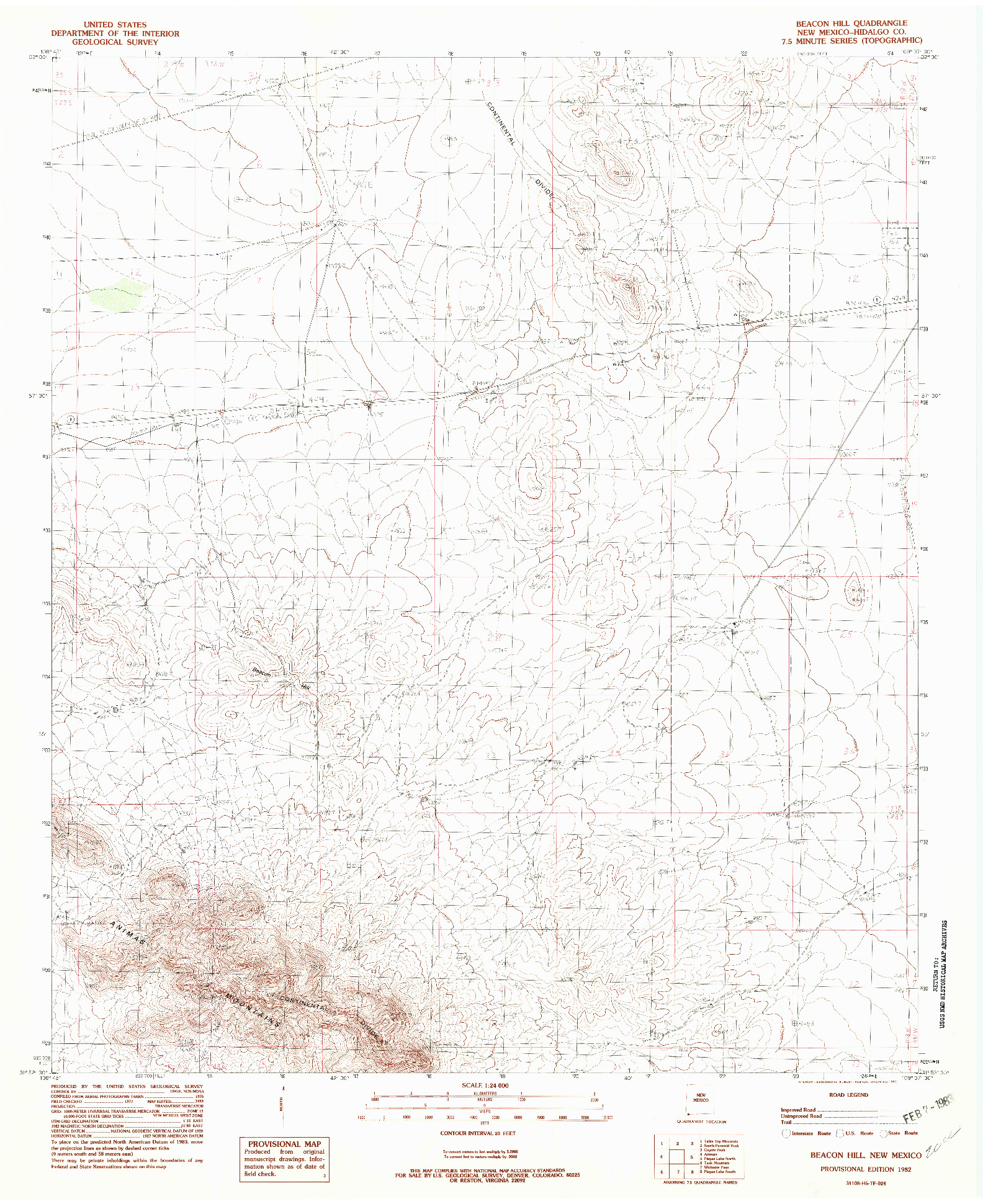 USGS 1:24000-SCALE QUADRANGLE FOR BEACON HILL, NM 1982