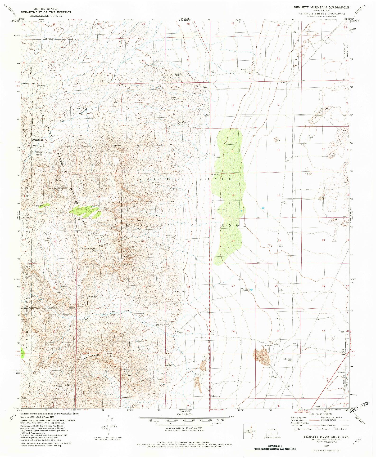 USGS 1:24000-SCALE QUADRANGLE FOR BENNETT MOUNTAIN, NM 1981