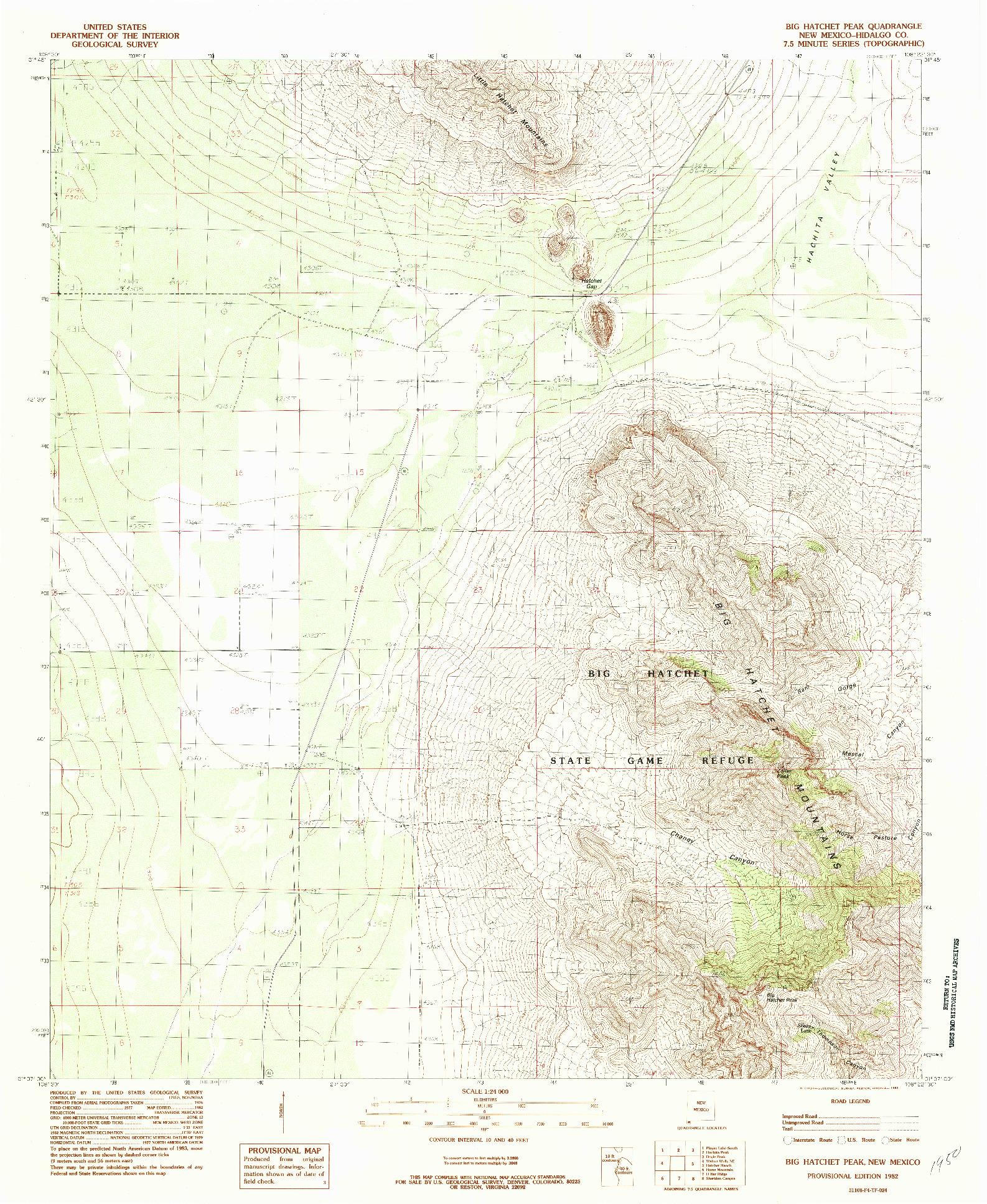 USGS 1:24000-SCALE QUADRANGLE FOR BIG HATCHET PEAK, NM 1982
