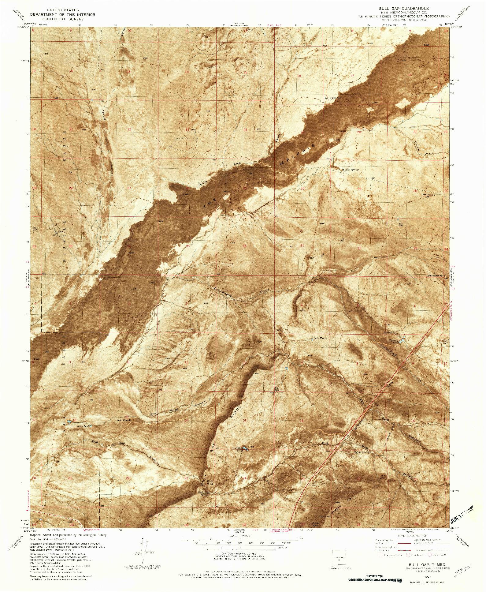 USGS 1:24000-SCALE QUADRANGLE FOR BULL GAP, NM 1981