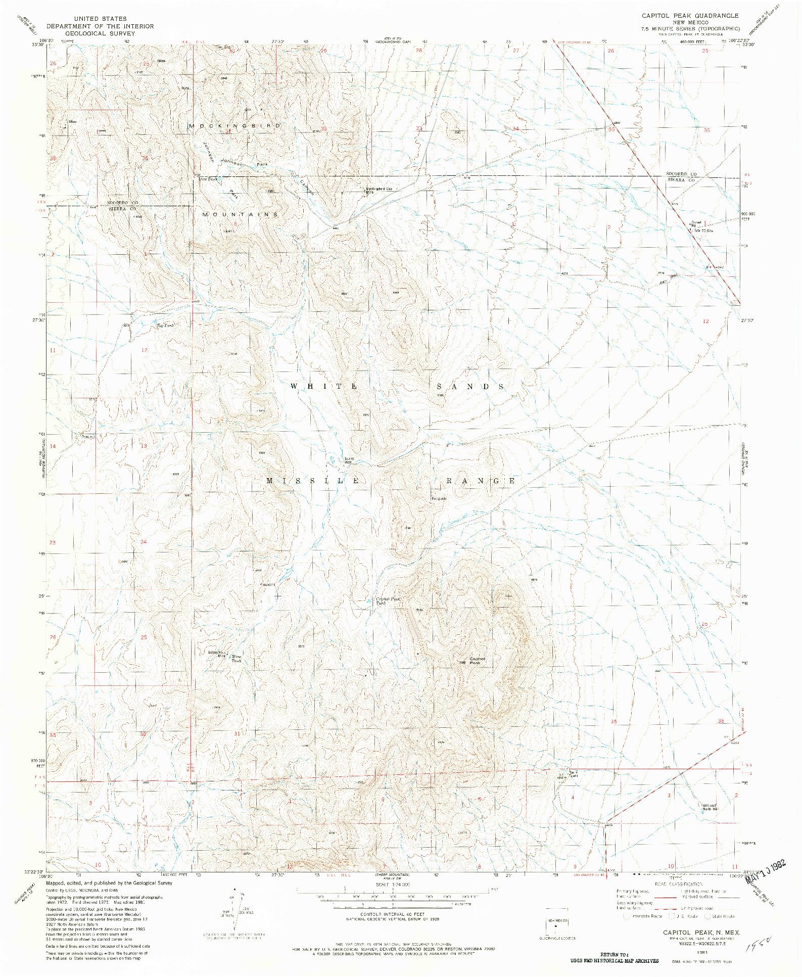 USGS 1:24000-SCALE QUADRANGLE FOR CAPITOL PEAK, NM 1981