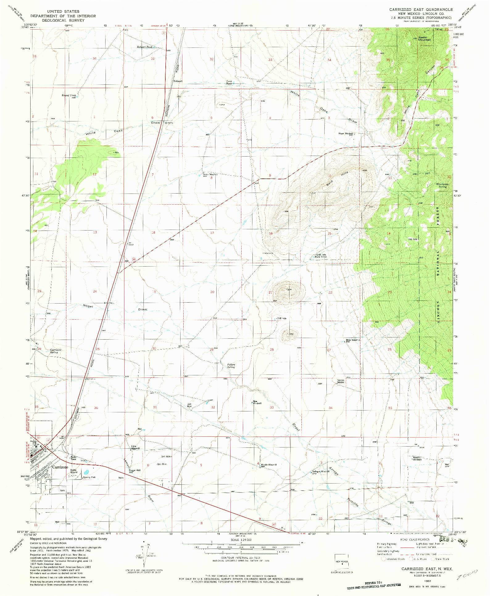 USGS 1:24000-SCALE QUADRANGLE FOR CARRIZOZO EAST, NM 1982