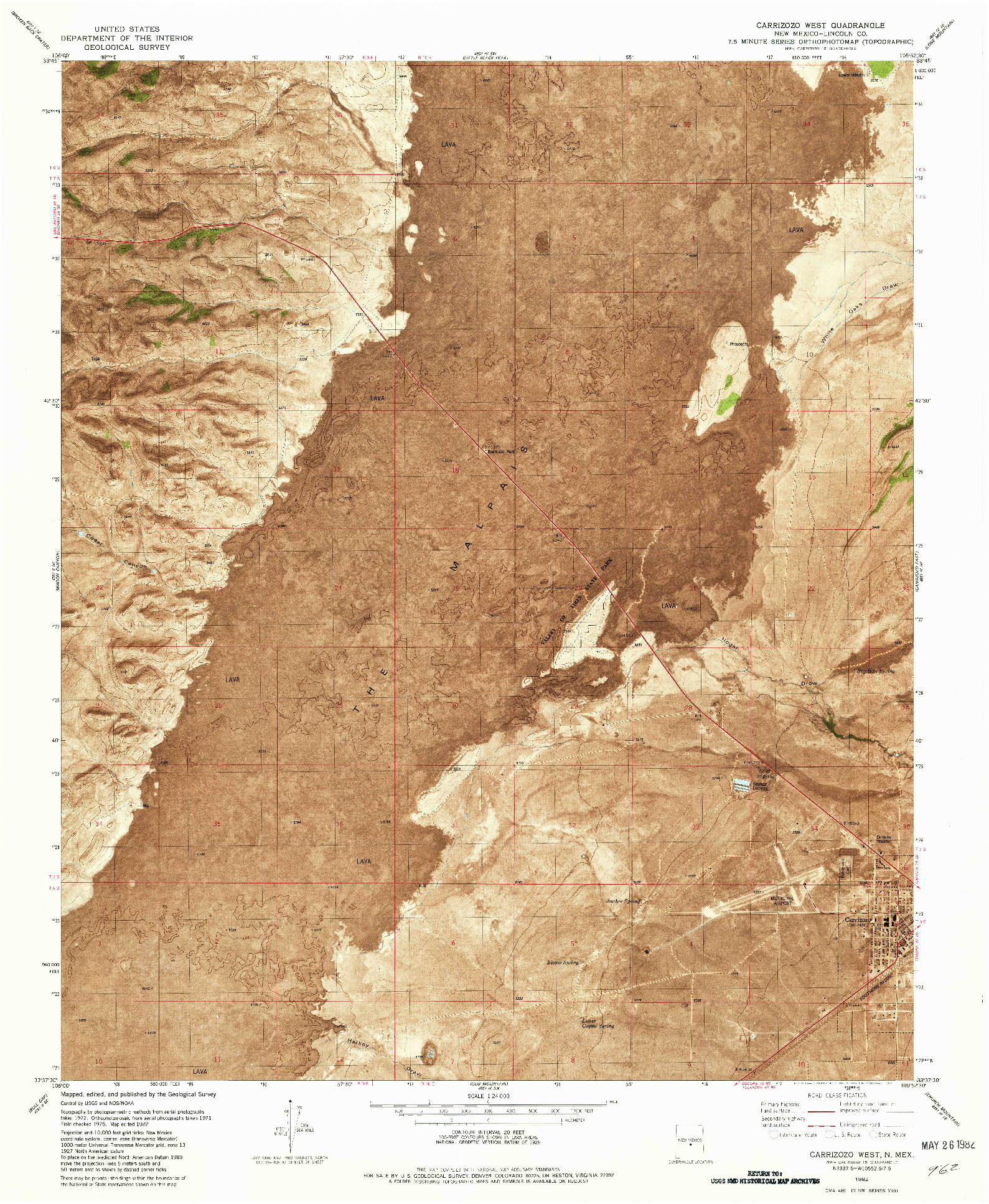USGS 1:24000-SCALE QUADRANGLE FOR CARRIZOZO WEST, NM 1982
