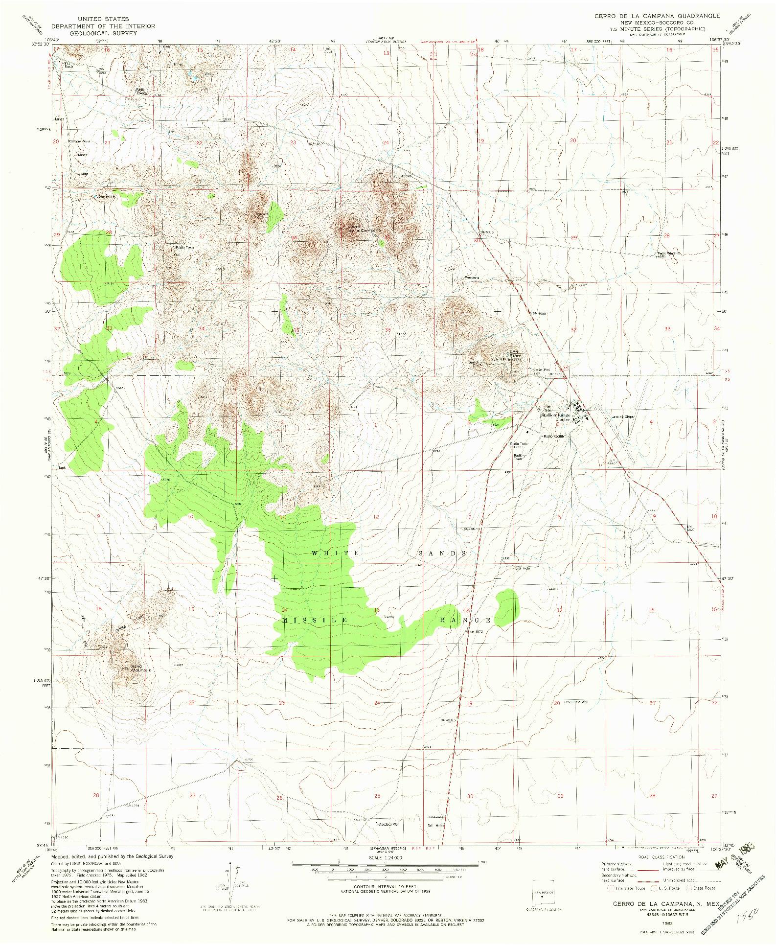 USGS 1:24000-SCALE QUADRANGLE FOR CERRO DE LA CAMPANA, NM 1982