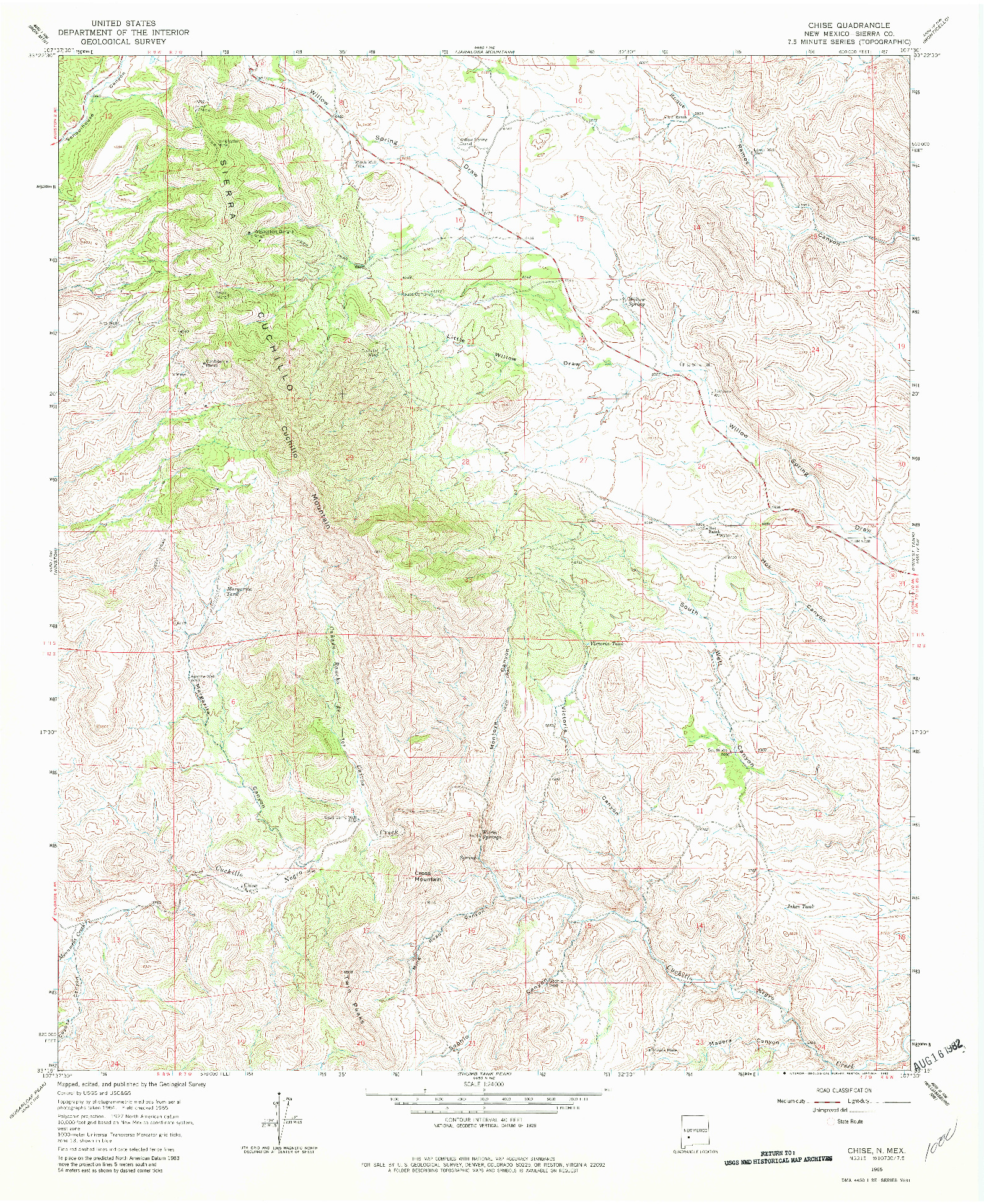 USGS 1:24000-SCALE QUADRANGLE FOR CHISE, NM 1965