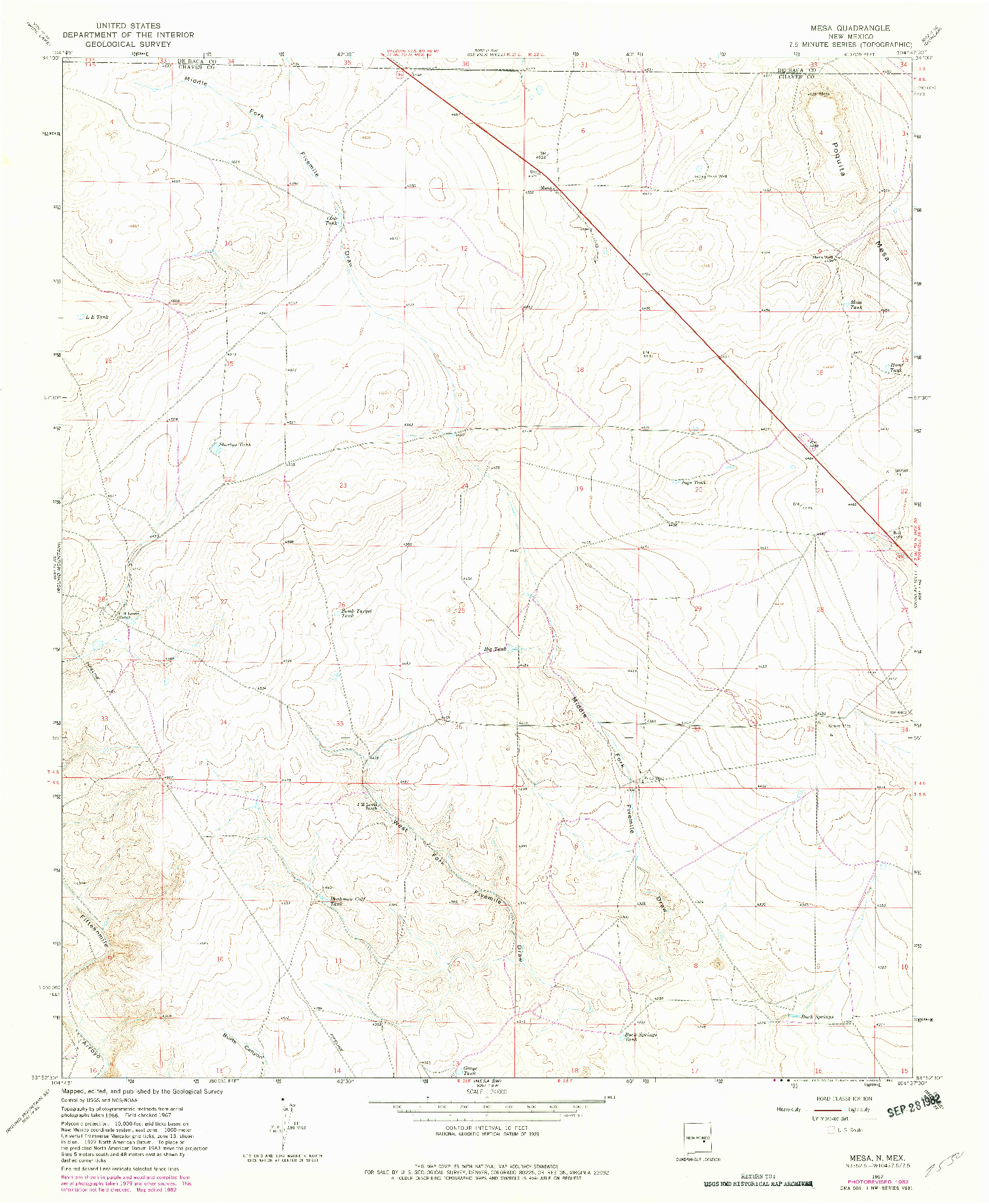 USGS 1:24000-SCALE QUADRANGLE FOR MESA, NM 1967