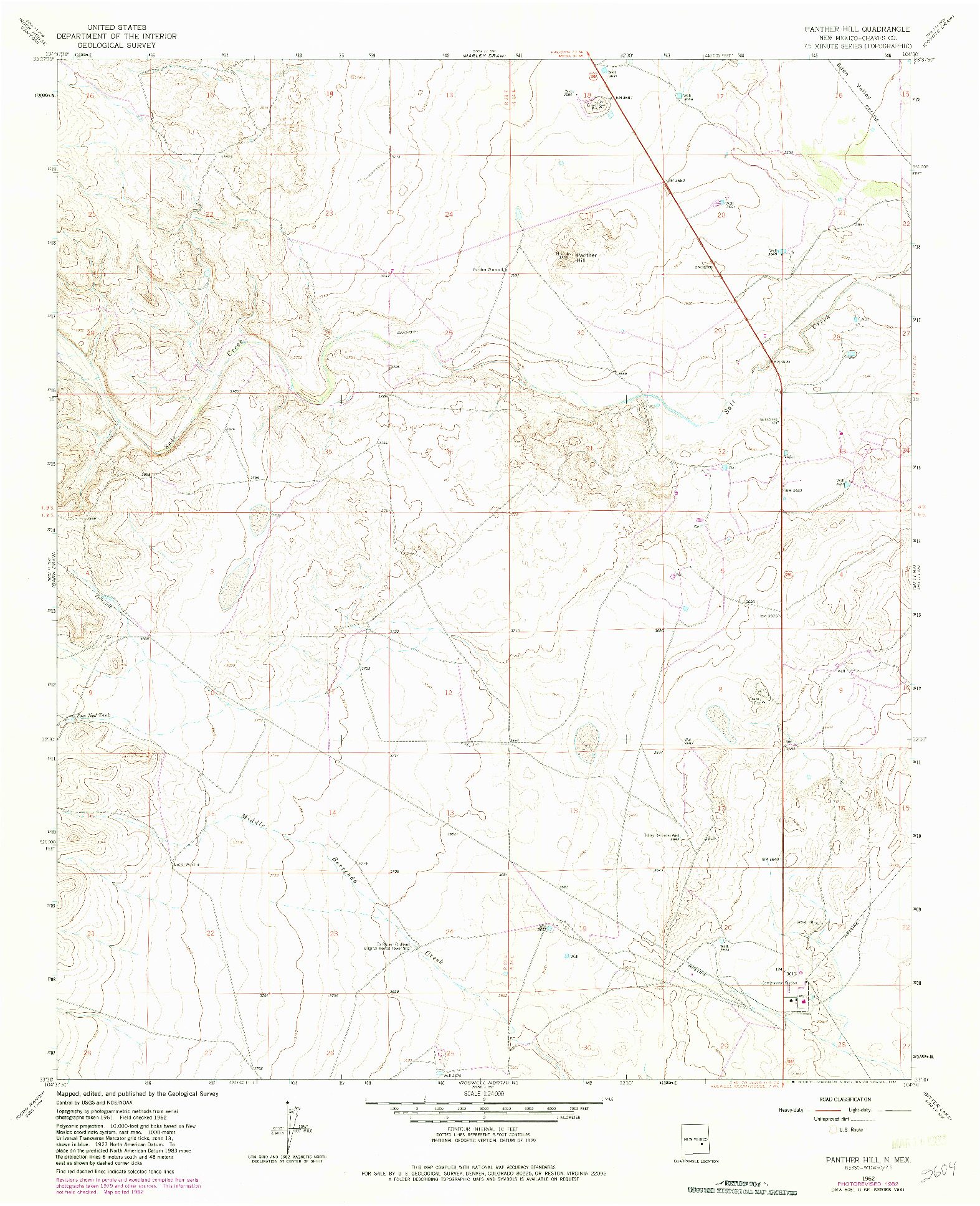 USGS 1:24000-SCALE QUADRANGLE FOR PANTHER HILL, NM 1962