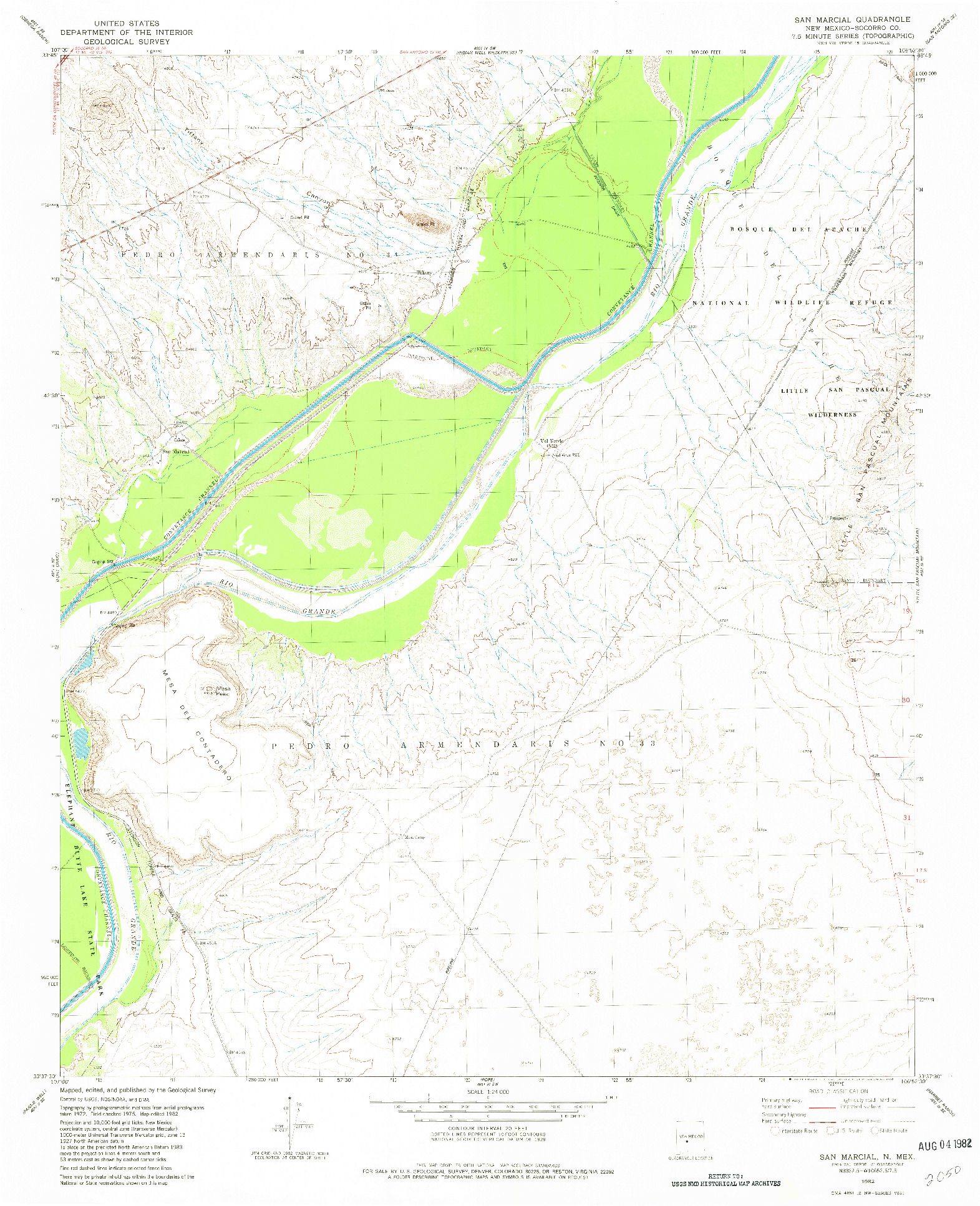 USGS 1:24000-SCALE QUADRANGLE FOR SAN MARCIAL, NM 1982